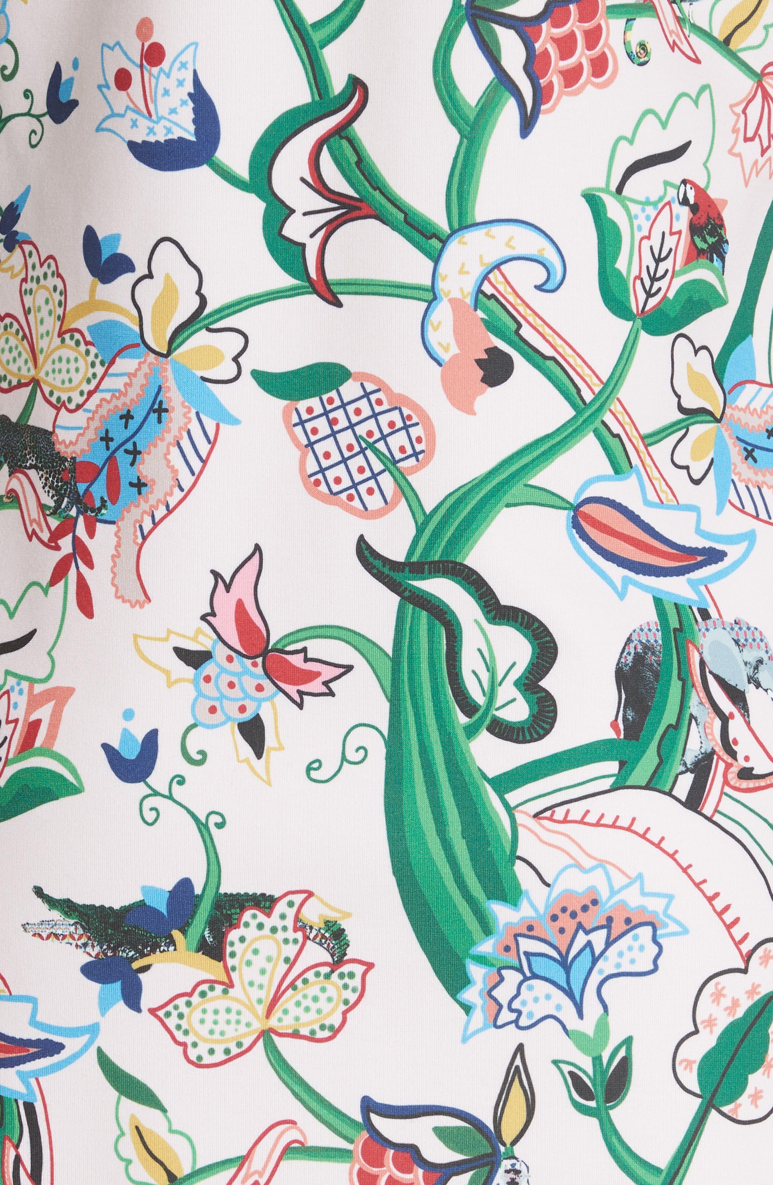Volca Jungle Print Shift Dress,                             Alternate thumbnail 5, color,                             652