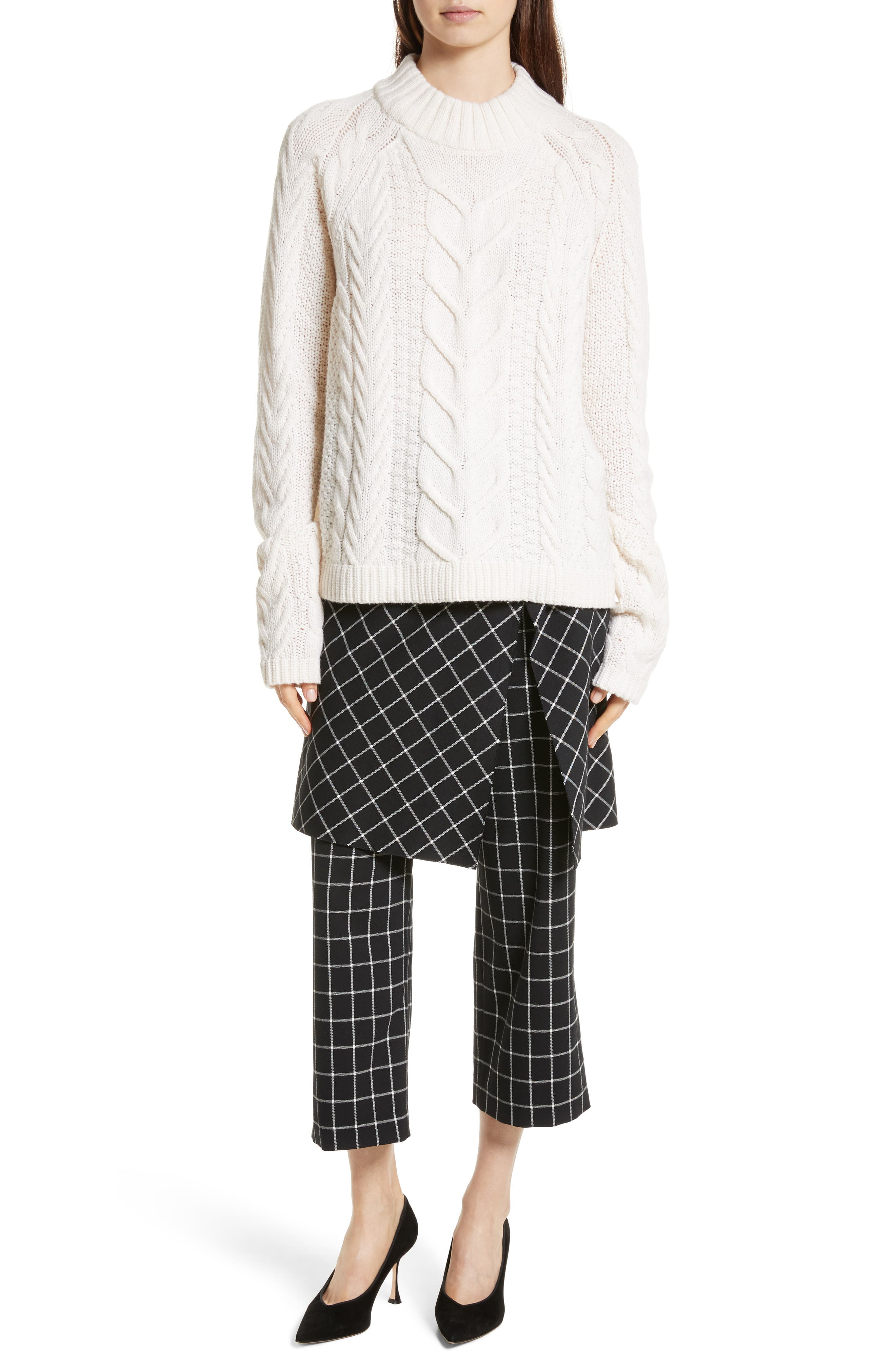 Grid Print Skirted Pants,                             Alternate thumbnail 7, color,                             004