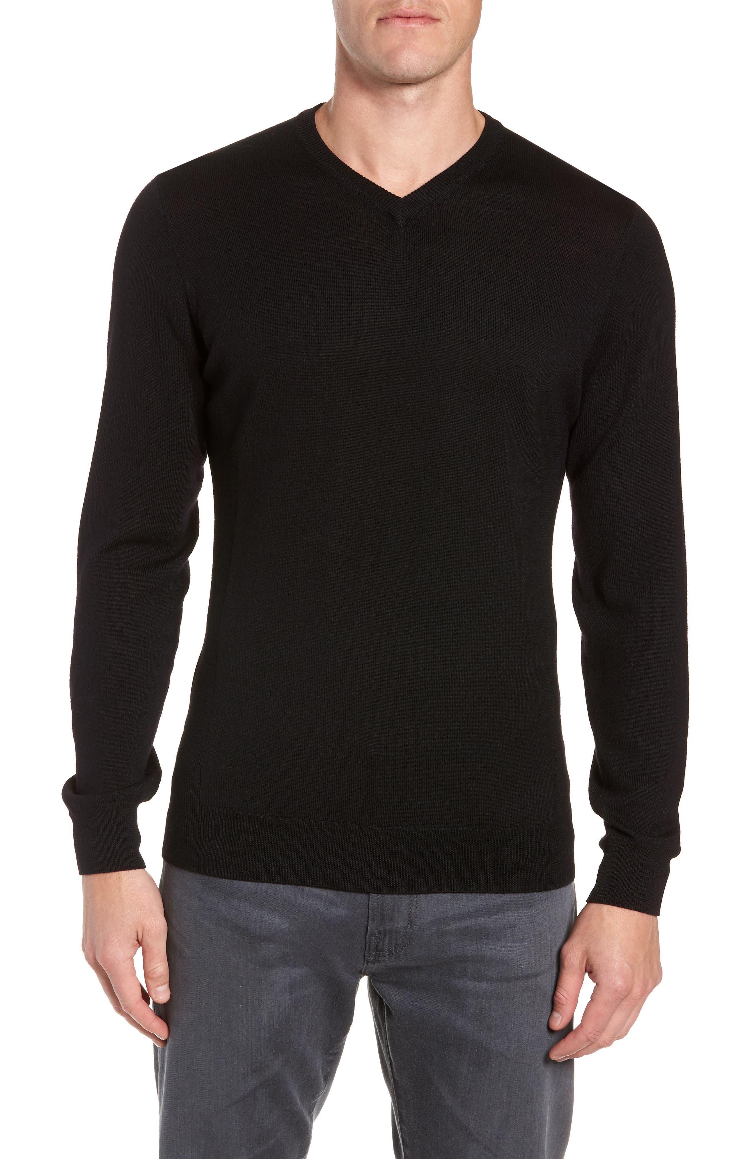 Shearer V-Neck Merino Sweater,                         Main,                         color, BLACK