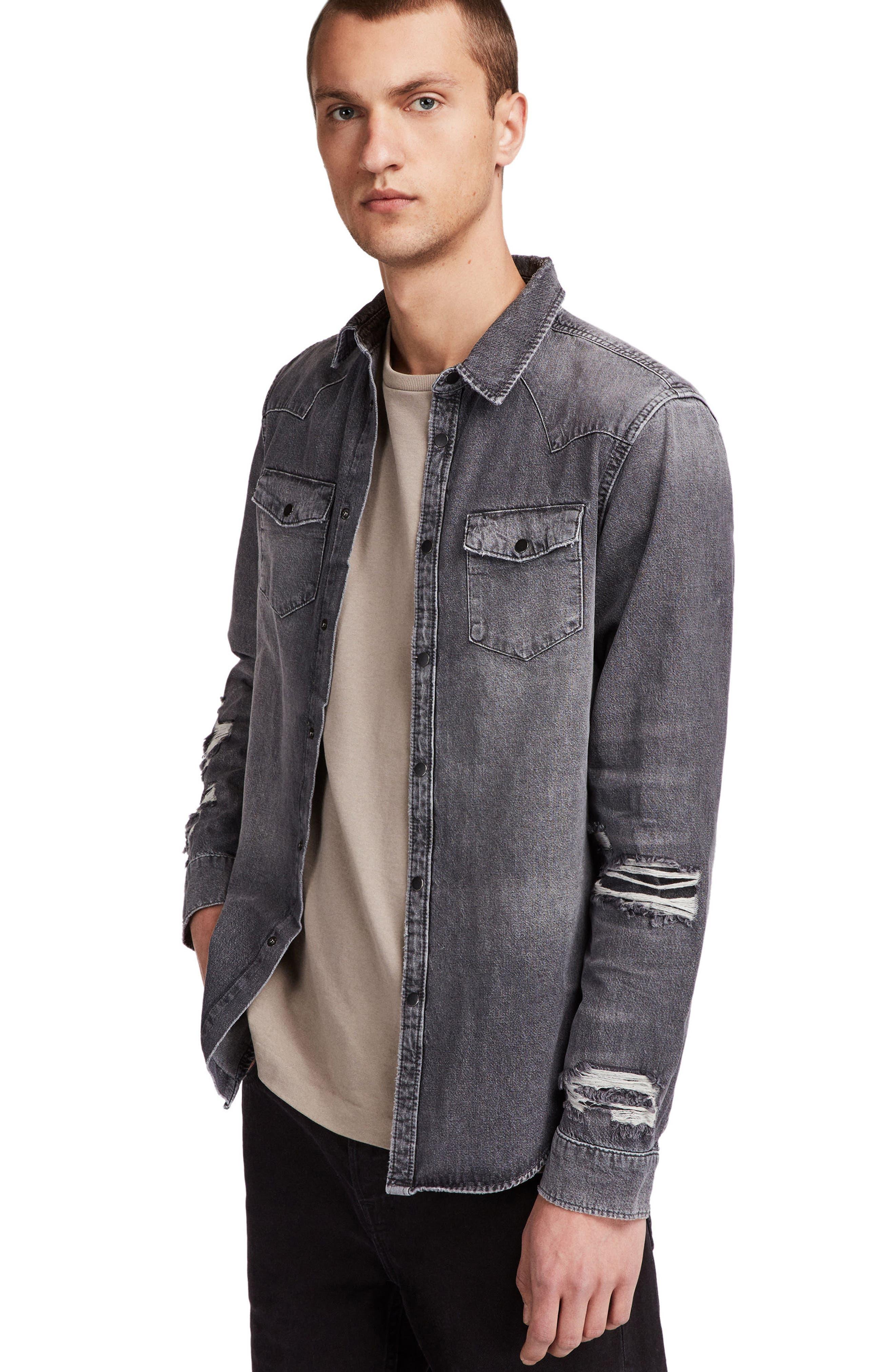 Beegan Distressed Denim Shirt Jacket,                             Alternate thumbnail 3, color,                             001
