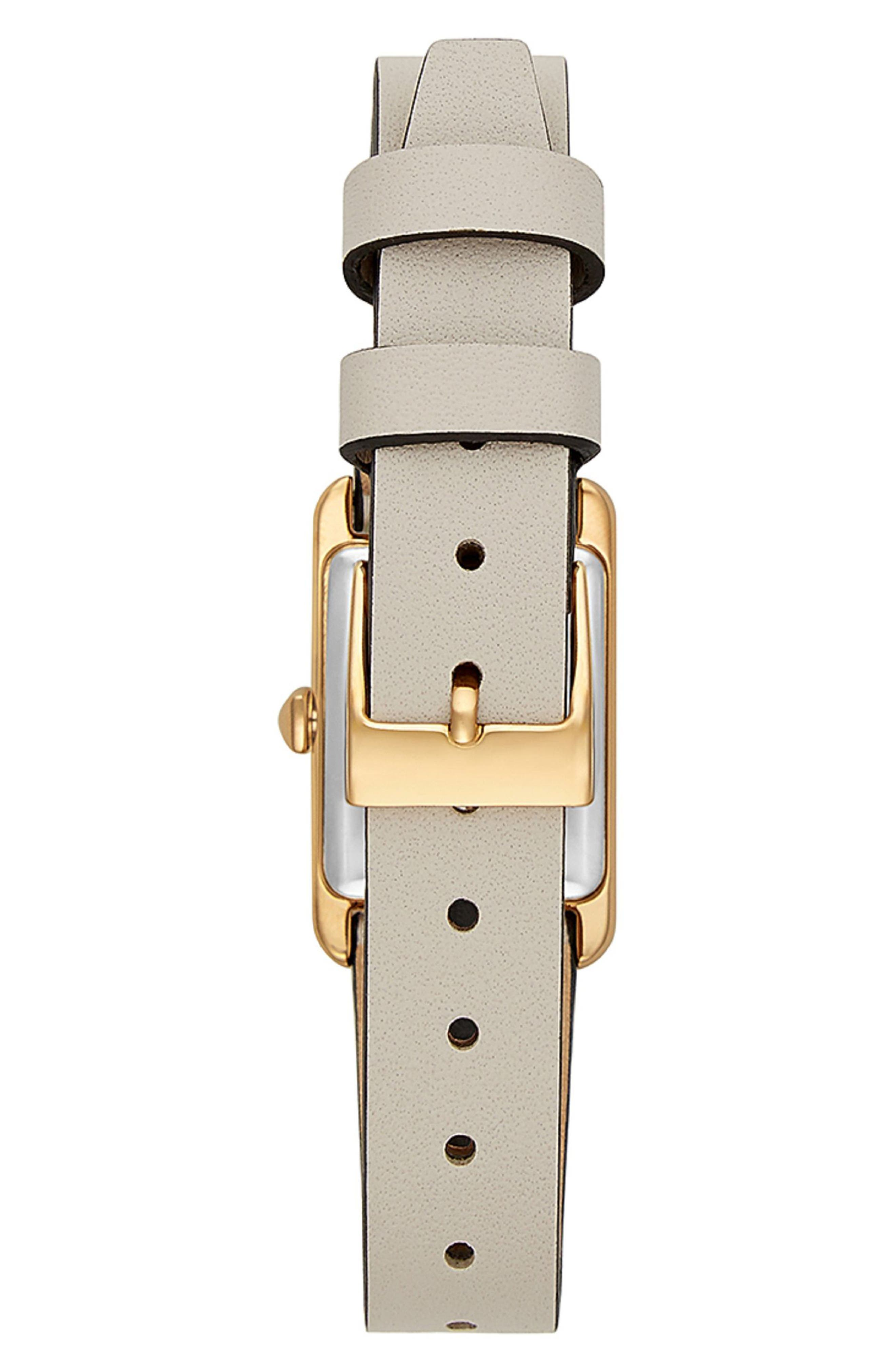 Moment Studded Leather Strap Watch, 19mm x 30mm,                             Alternate thumbnail 2, color,                             PUTTY/ BLACK/ GOLD