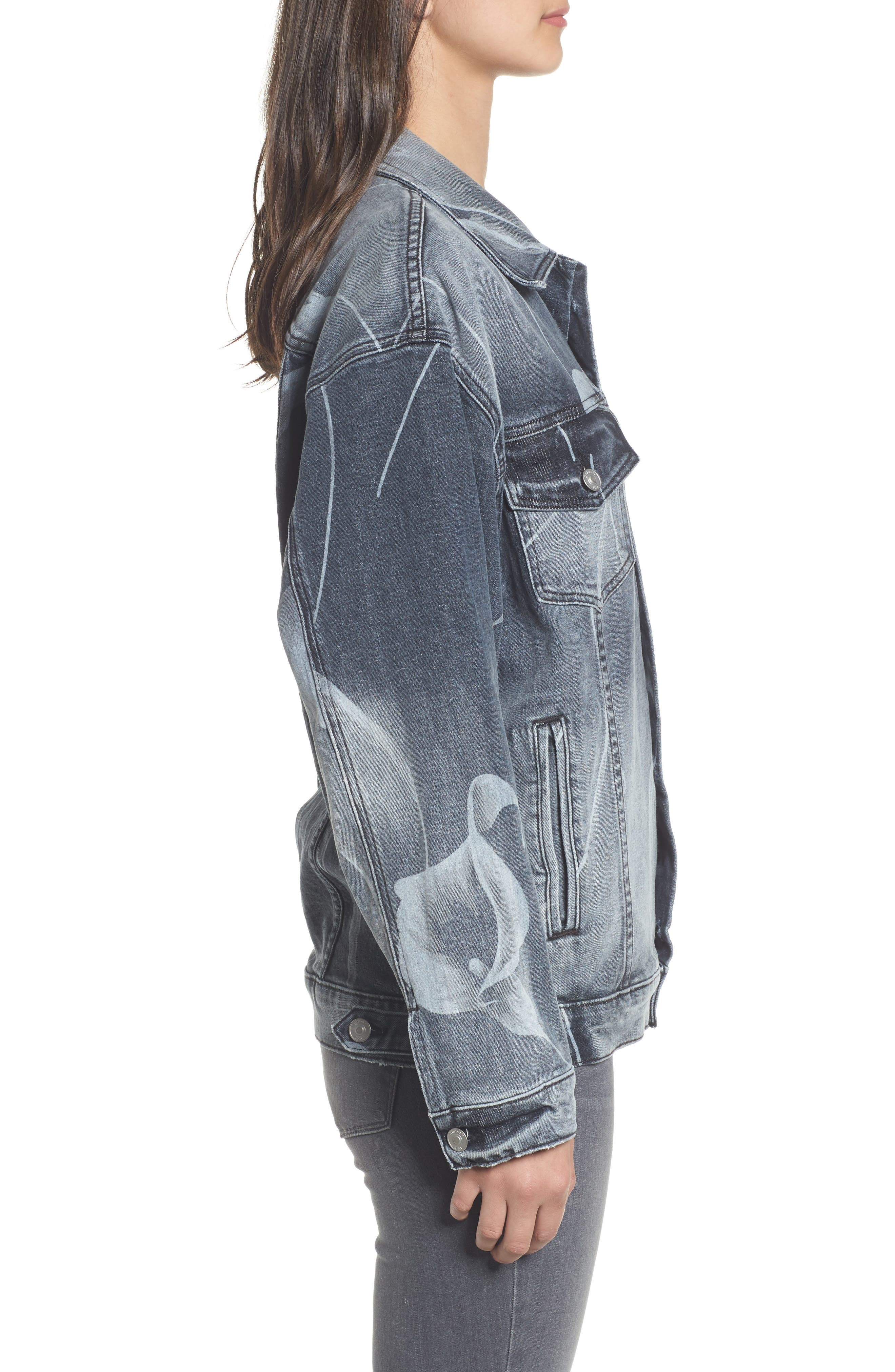 New Boyfriend Denim Trucker Jacket,                             Alternate thumbnail 3, color,                             001