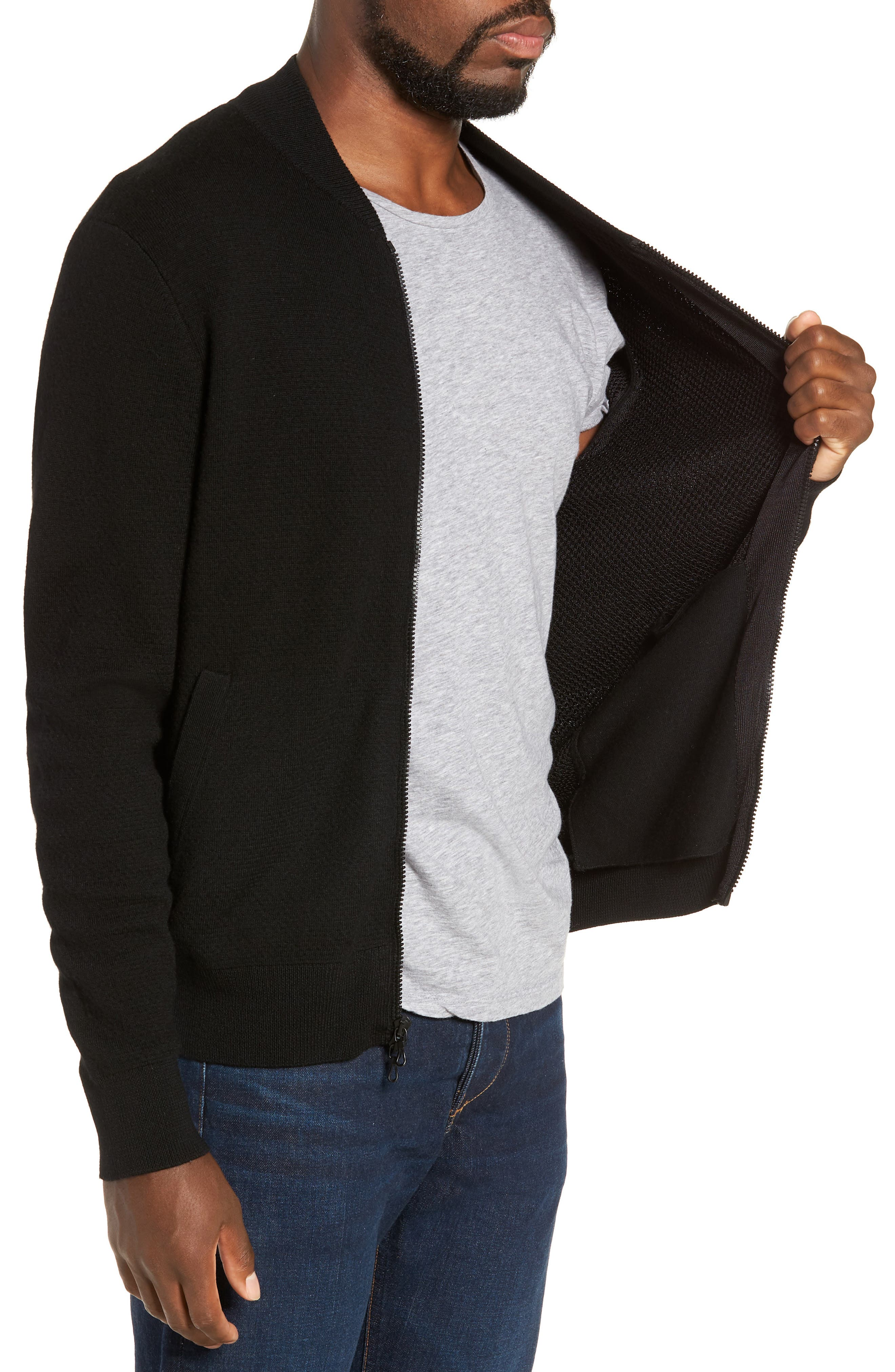 Orwell Slim Fit Wool Bomber Jacket,                             Alternate thumbnail 3, color,                             BLACK/ BLACK