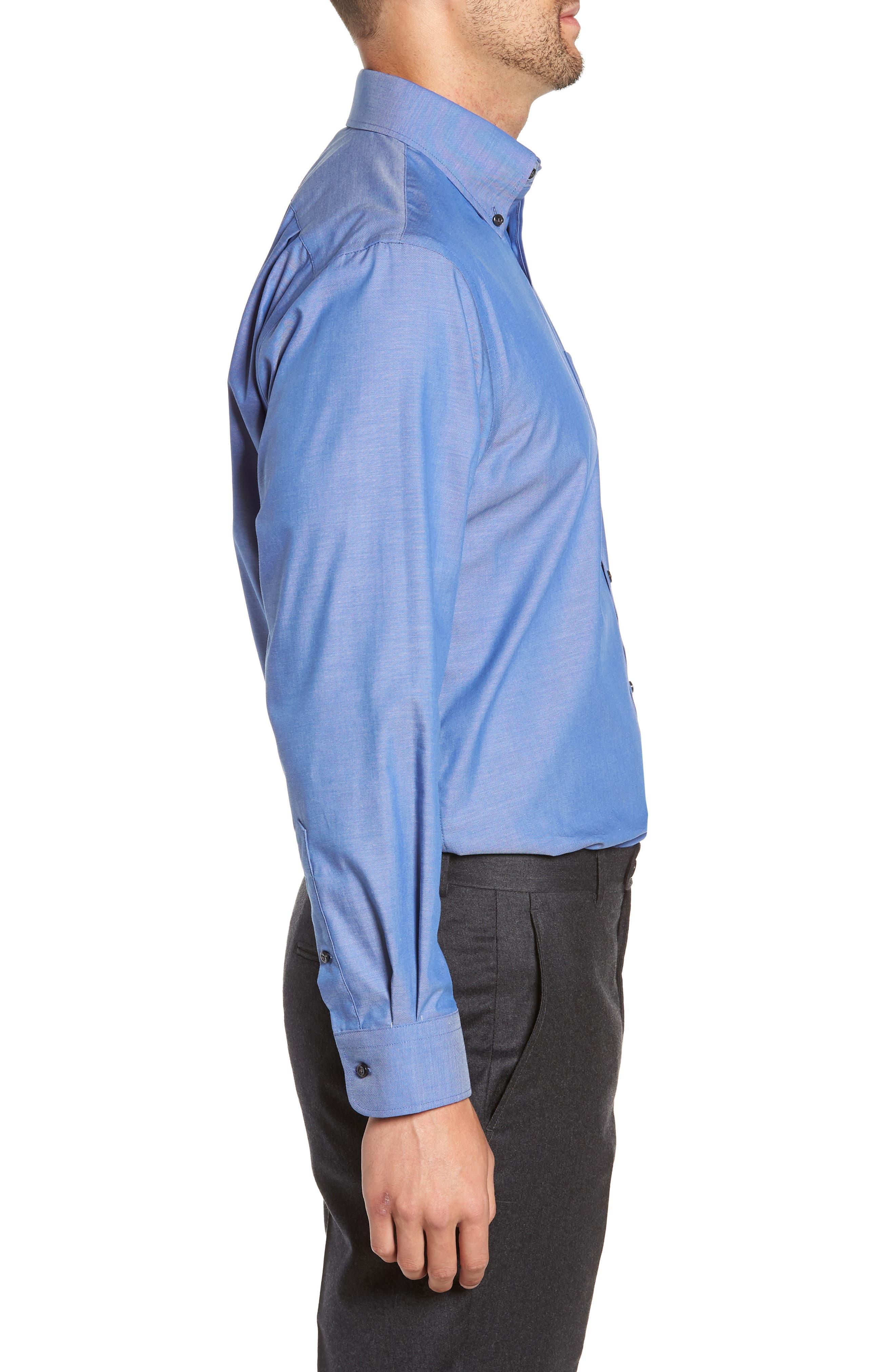 Traditional Fit Non-Iron Dress Shirt,                             Alternate thumbnail 4, color,                             BLUE DENIM