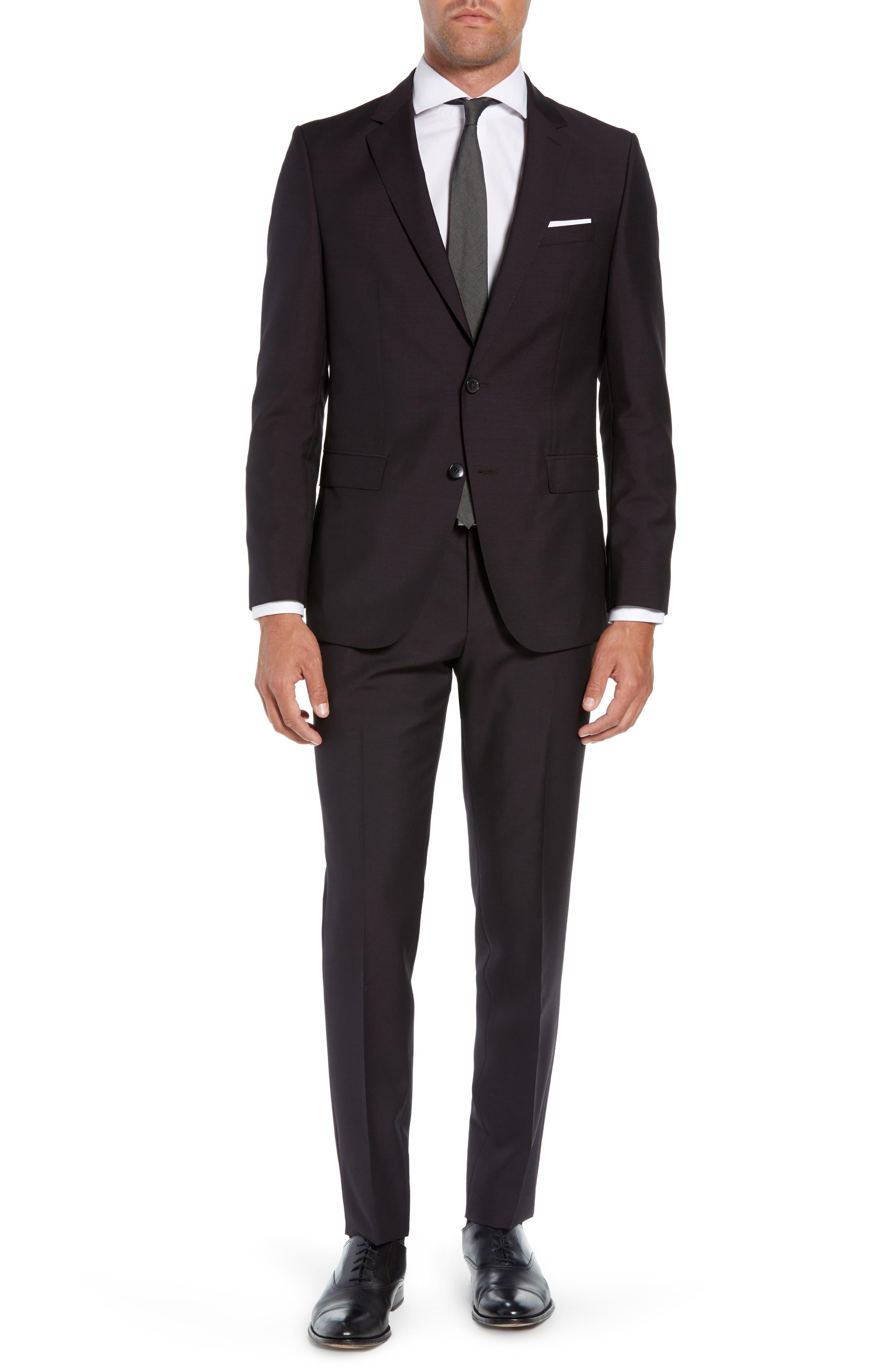 Novan/Ben Trim Fit Solid Wool & Mohair Suit,                         Main,                         color, DARK PURPLE
