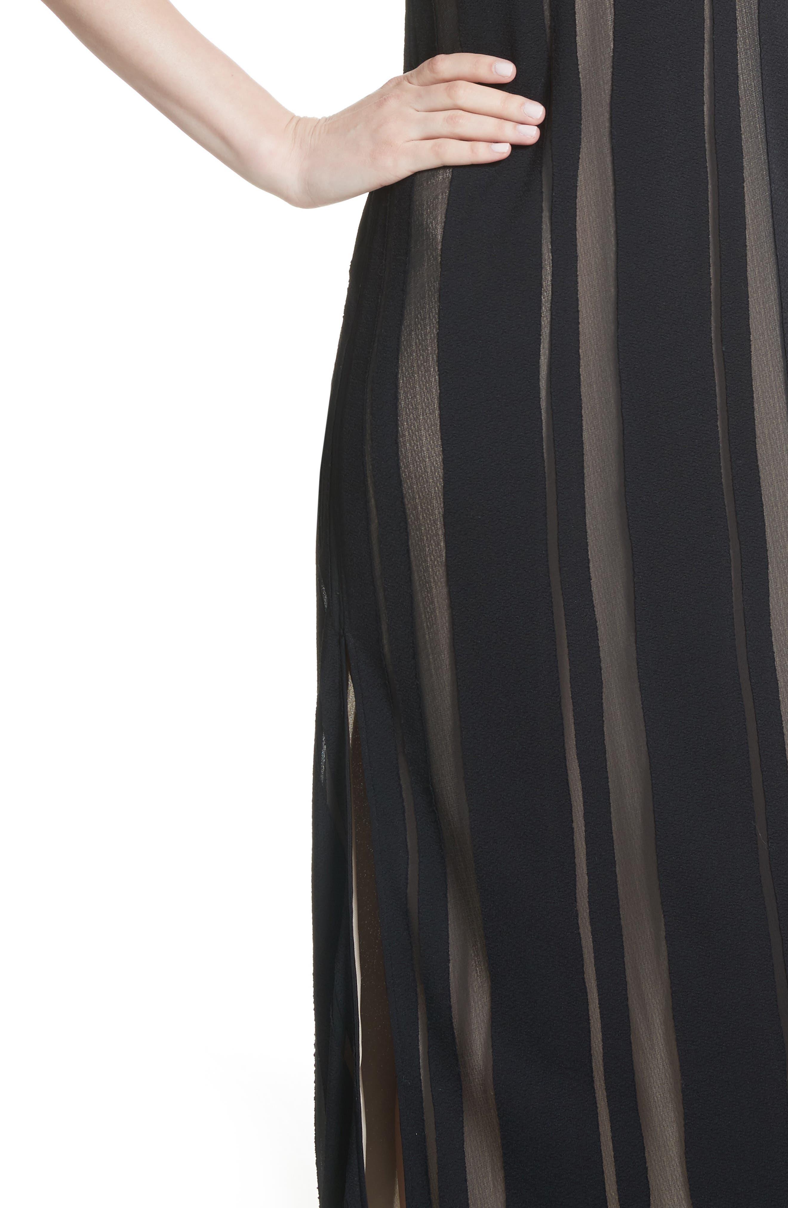 Talla Sheer Stripe Midi Dress,                             Alternate thumbnail 4, color,                             009