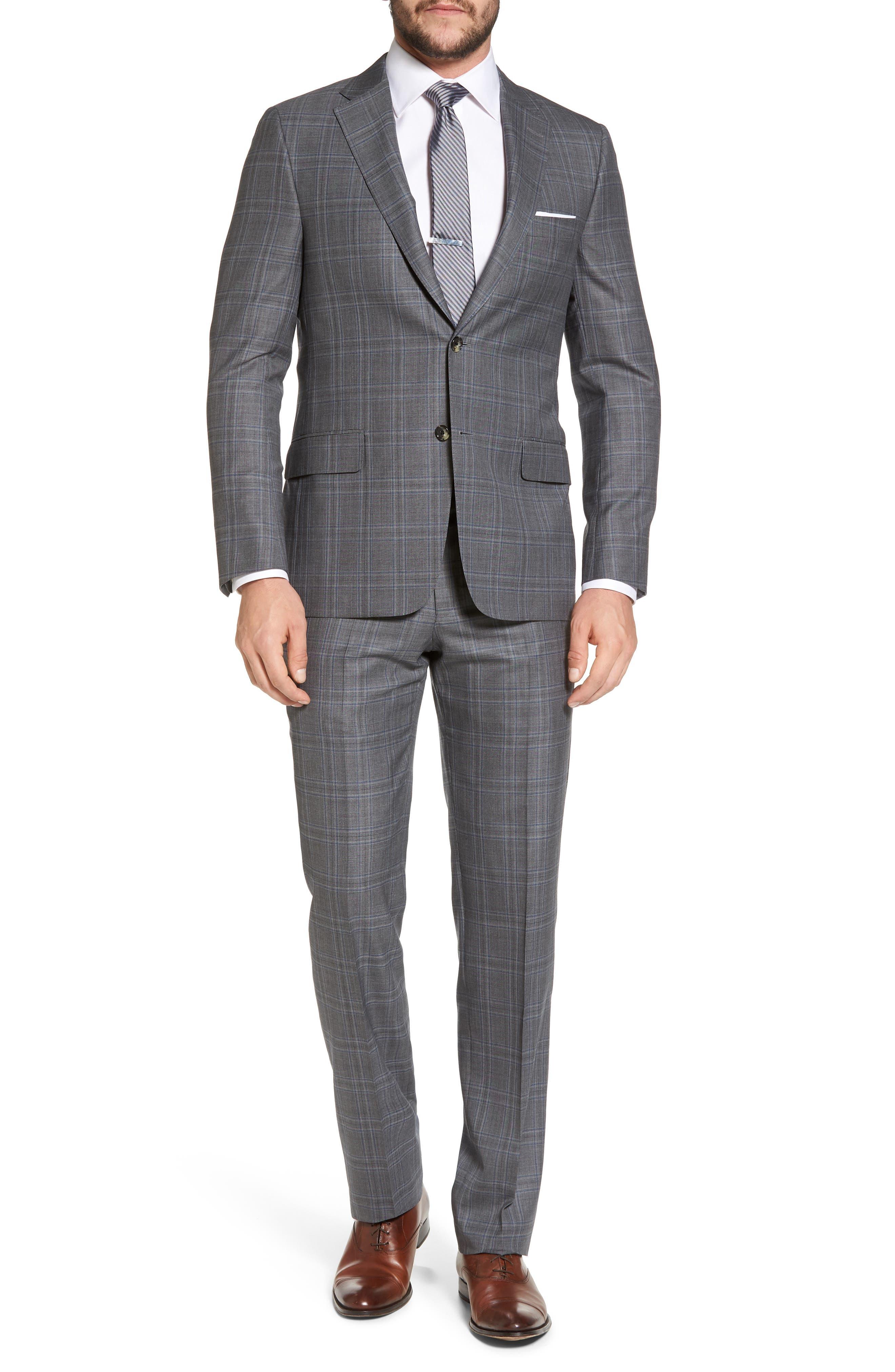 Classic B Fit Plaid Wool Suit,                         Main,                         color, 060