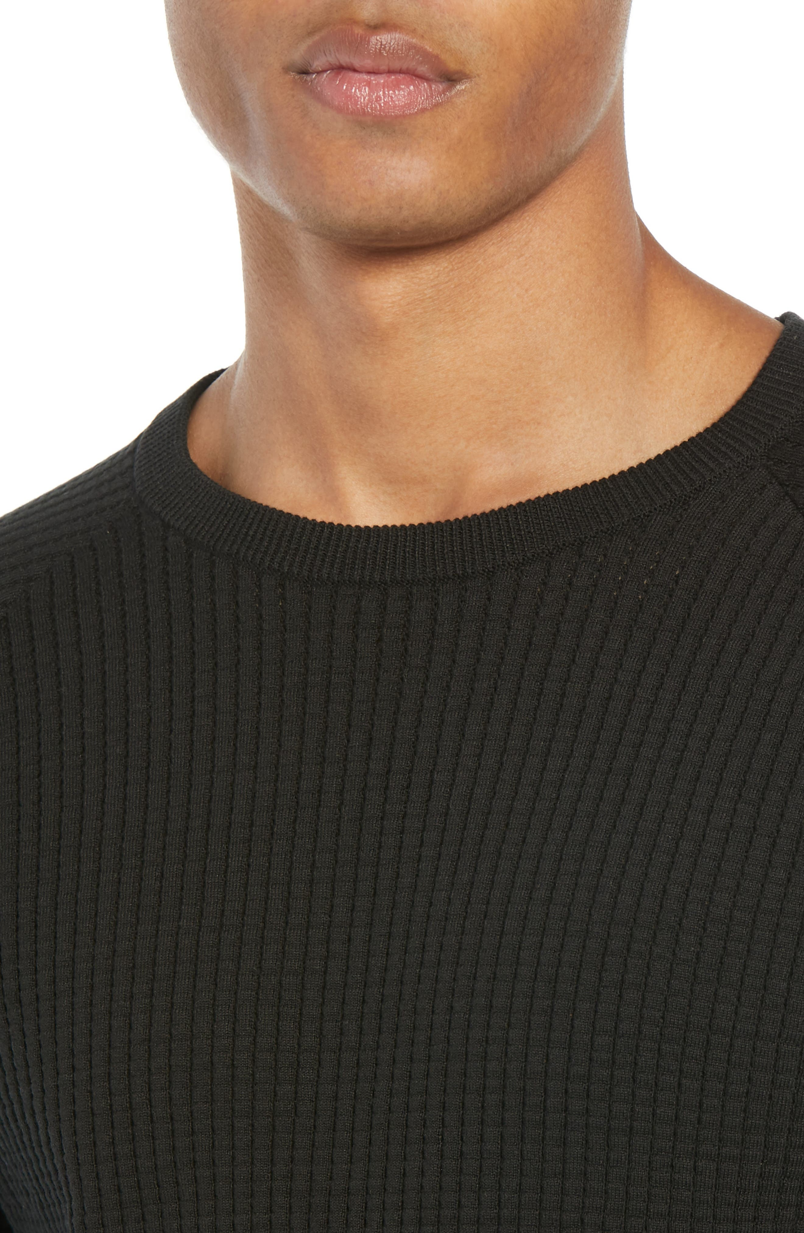 Amadeo Regular Fit Textured Cotton Sweater,                             Alternate thumbnail 4, color,                             BLACK