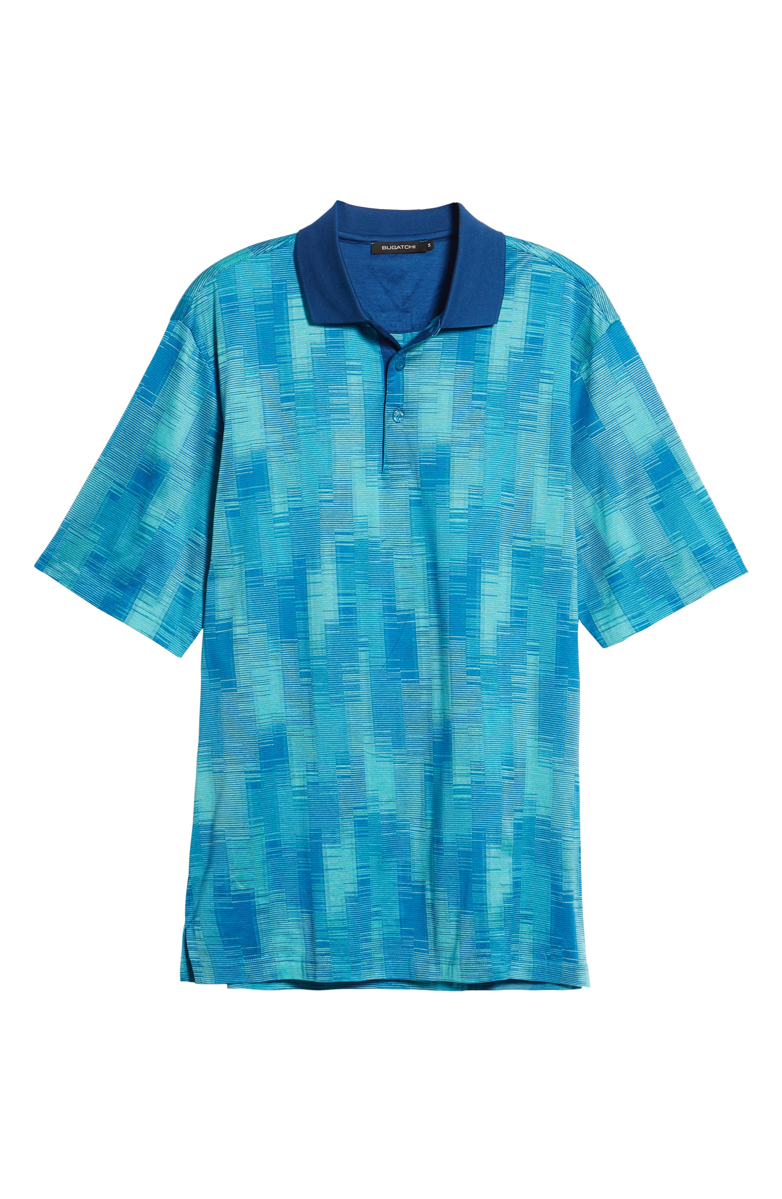 Abstract Stripe Mercerized Cotton Polo,                             Alternate thumbnail 6, color,                             TURQUOISE
