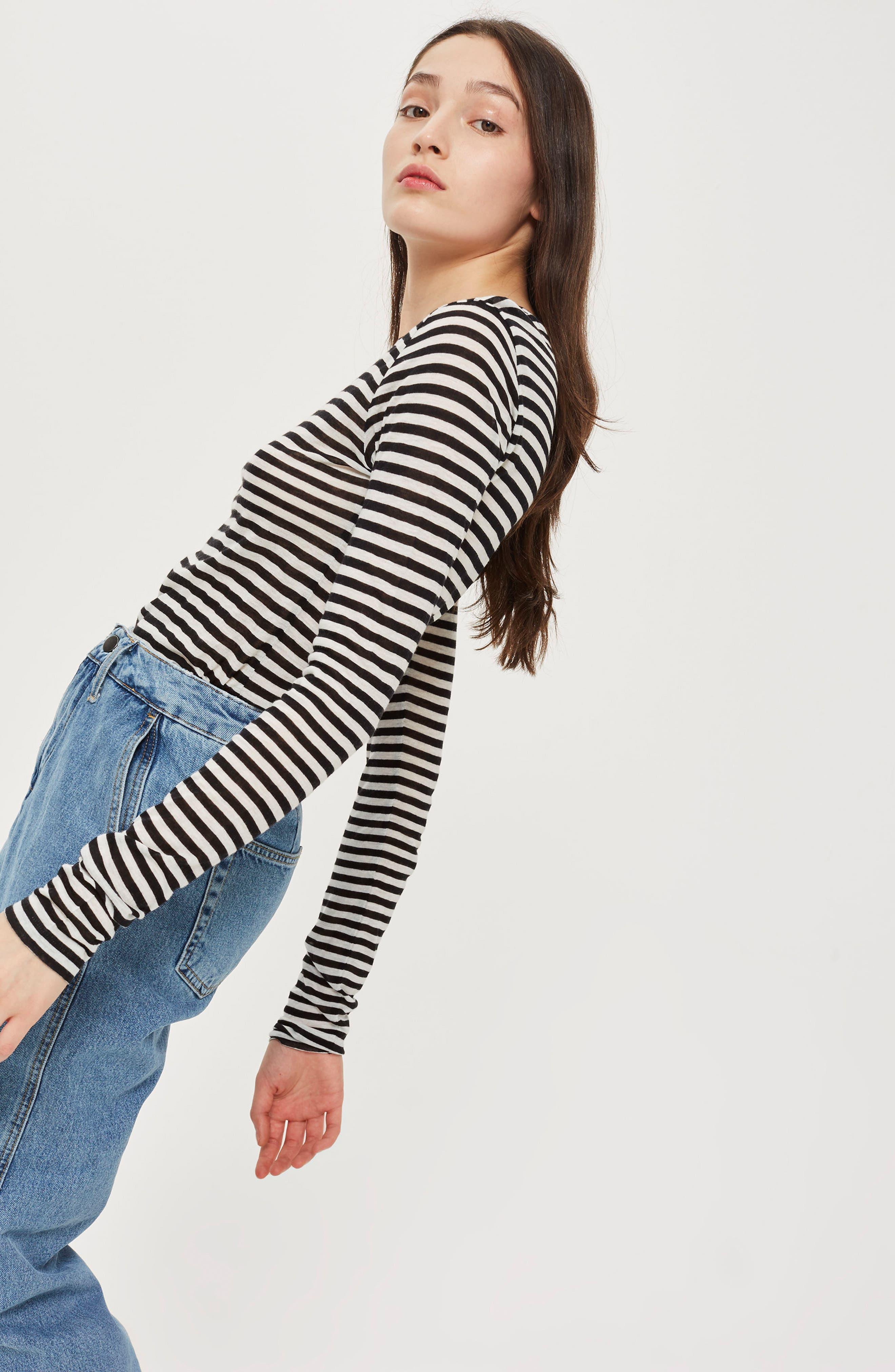 Topshop Stripe Slub Shirt,                             Alternate thumbnail 4, color,                             001