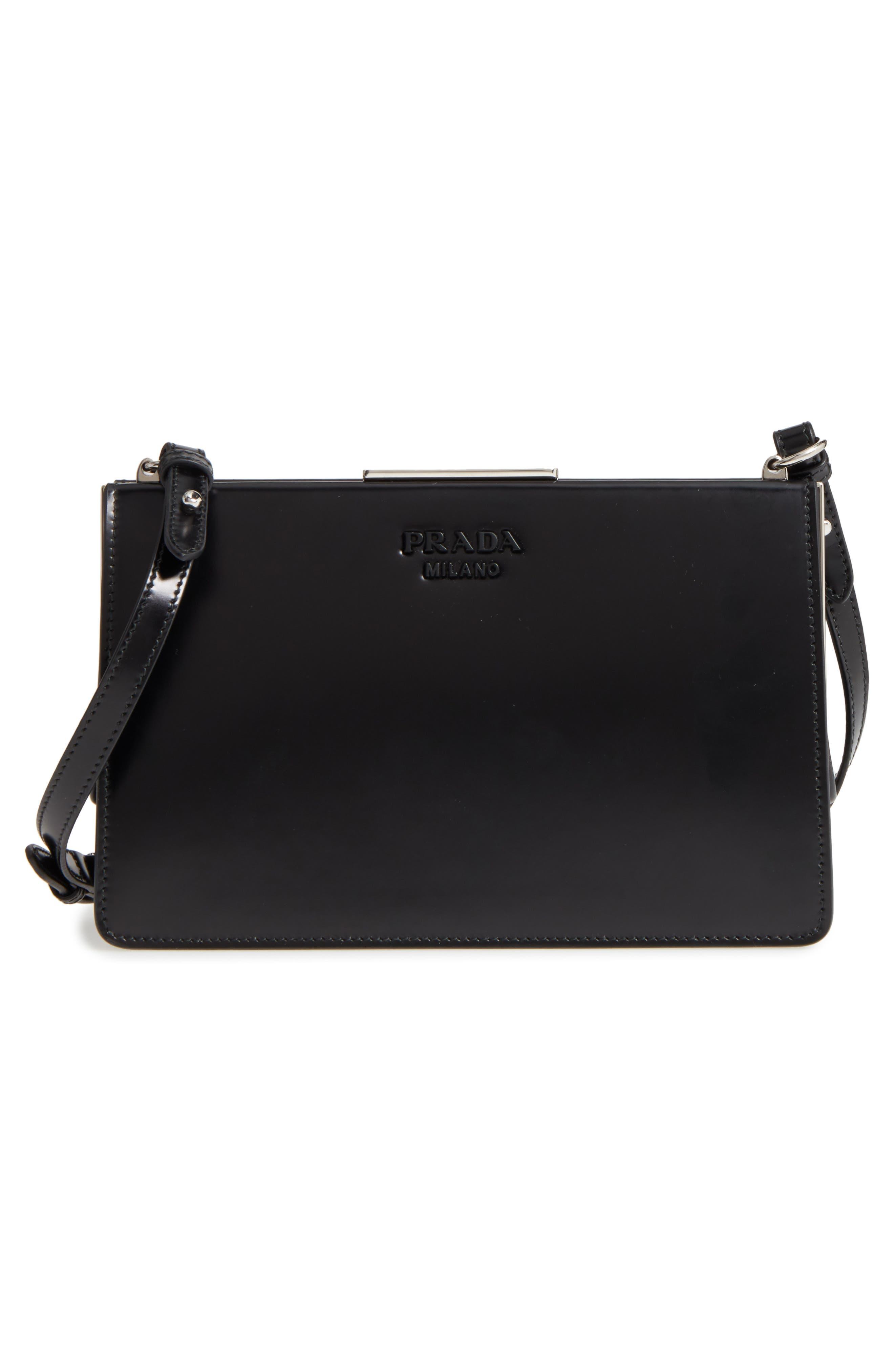 PRADA,                             Spazzolato Calfskin Crossbody Bag,                             Alternate thumbnail 3, color,                             001