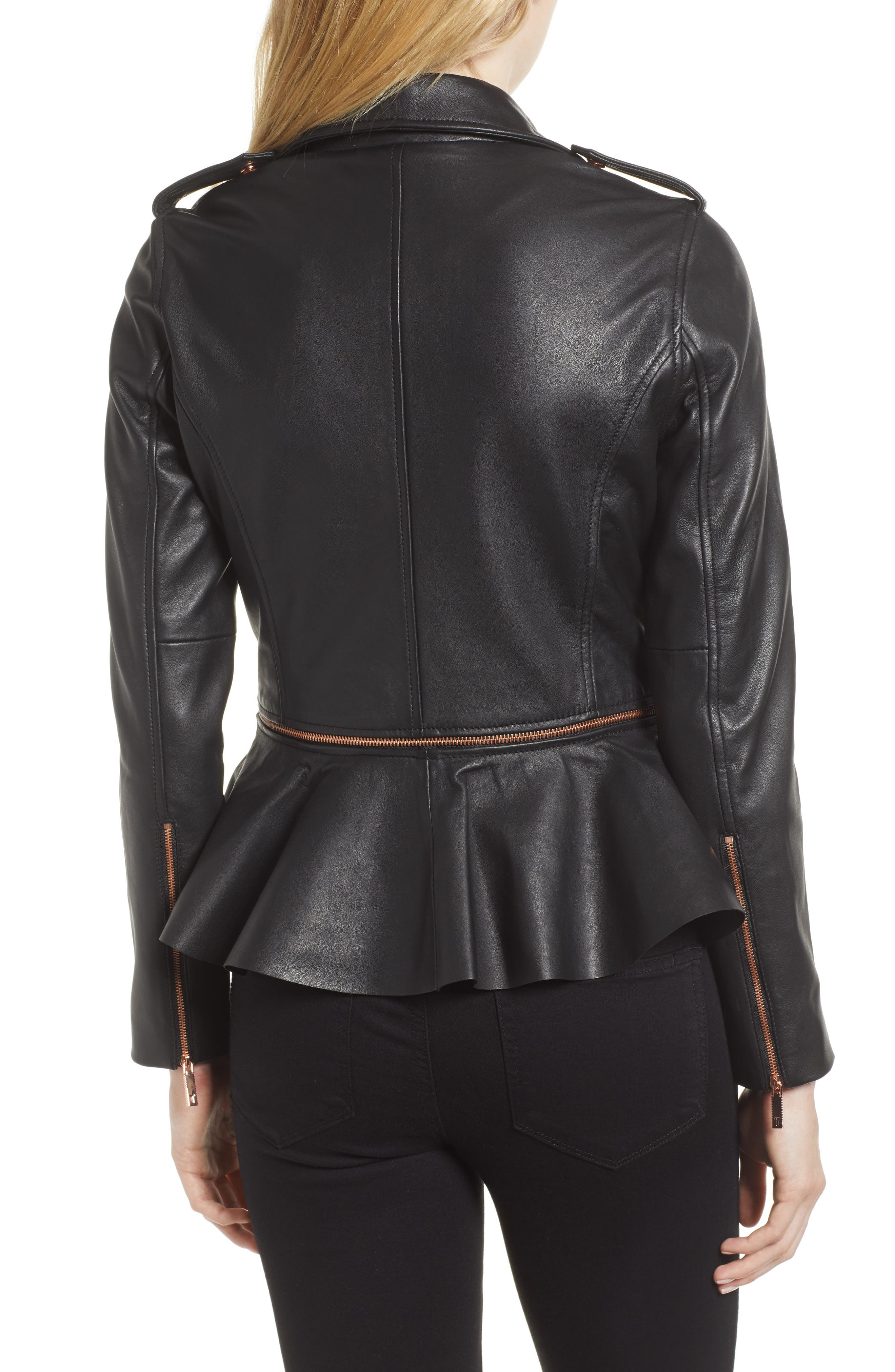 Zip-Off Peplum Leather Biker Jacket,                             Alternate thumbnail 2, color,                             001