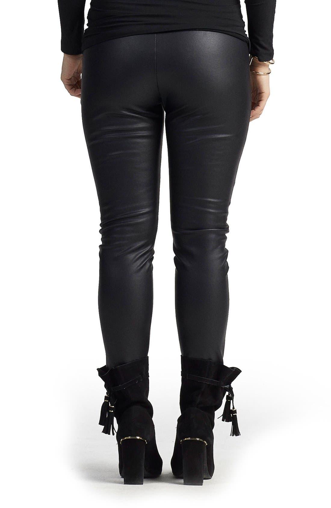 Sadi Faux Leather Maternity Pants,                             Alternate thumbnail 2, color,                             001
