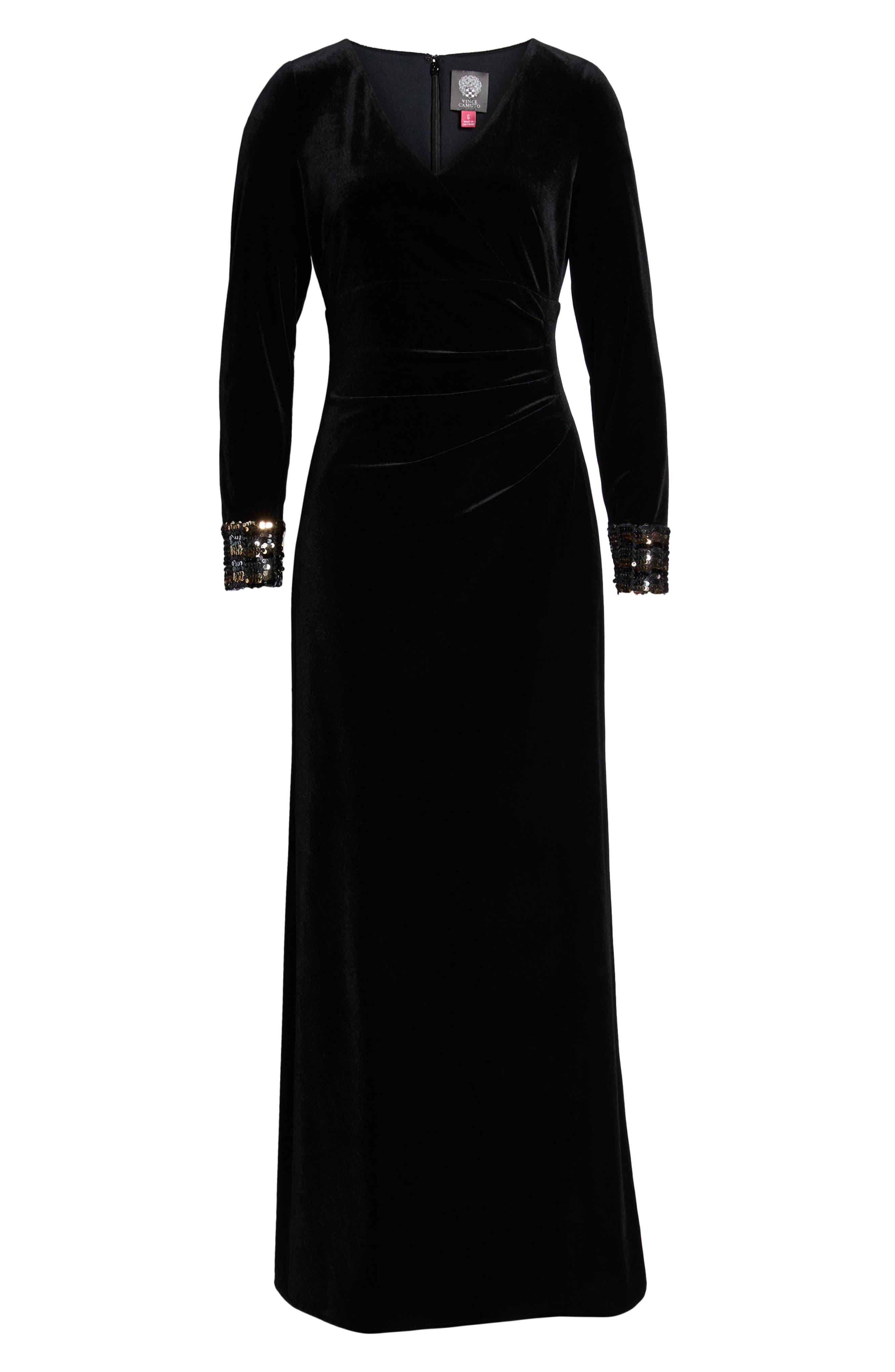 Sequin Cuff Stretch Velvet Gown,                             Alternate thumbnail 7, color,                             BLACK