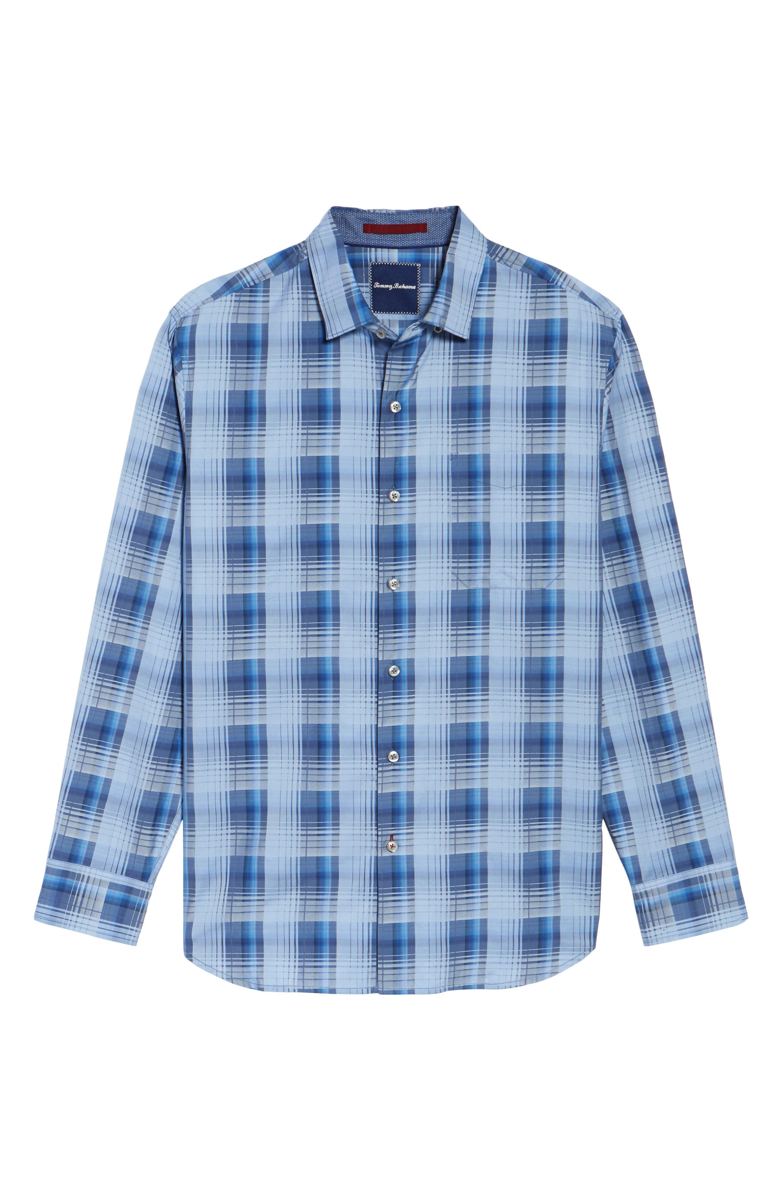 Shadow Ridge Check Cotton & Silk Sport Shirt,                             Alternate thumbnail 6, color,