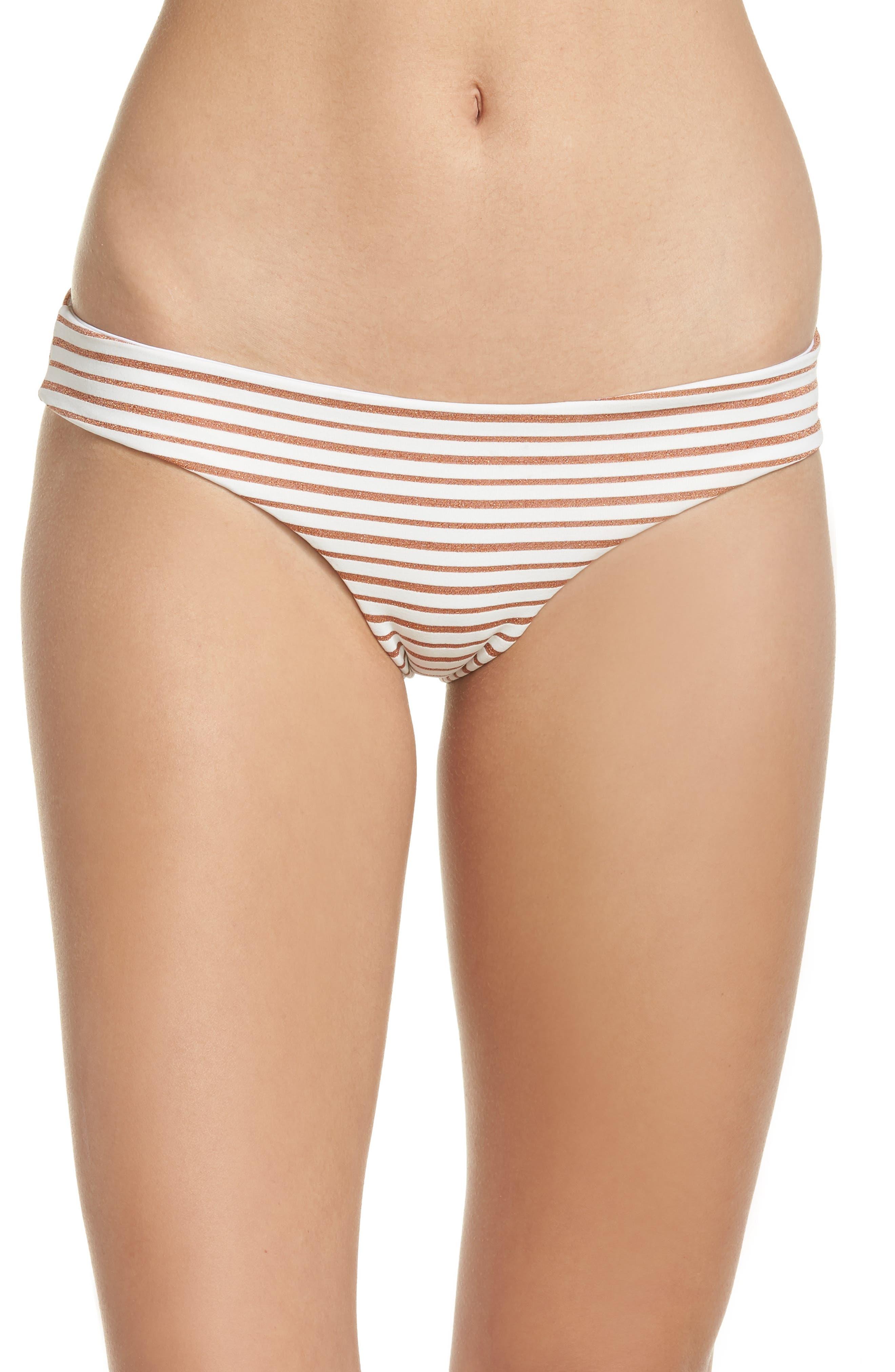 L SPACE Sandy Stripe Bikini Bottoms, Main, color, 100
