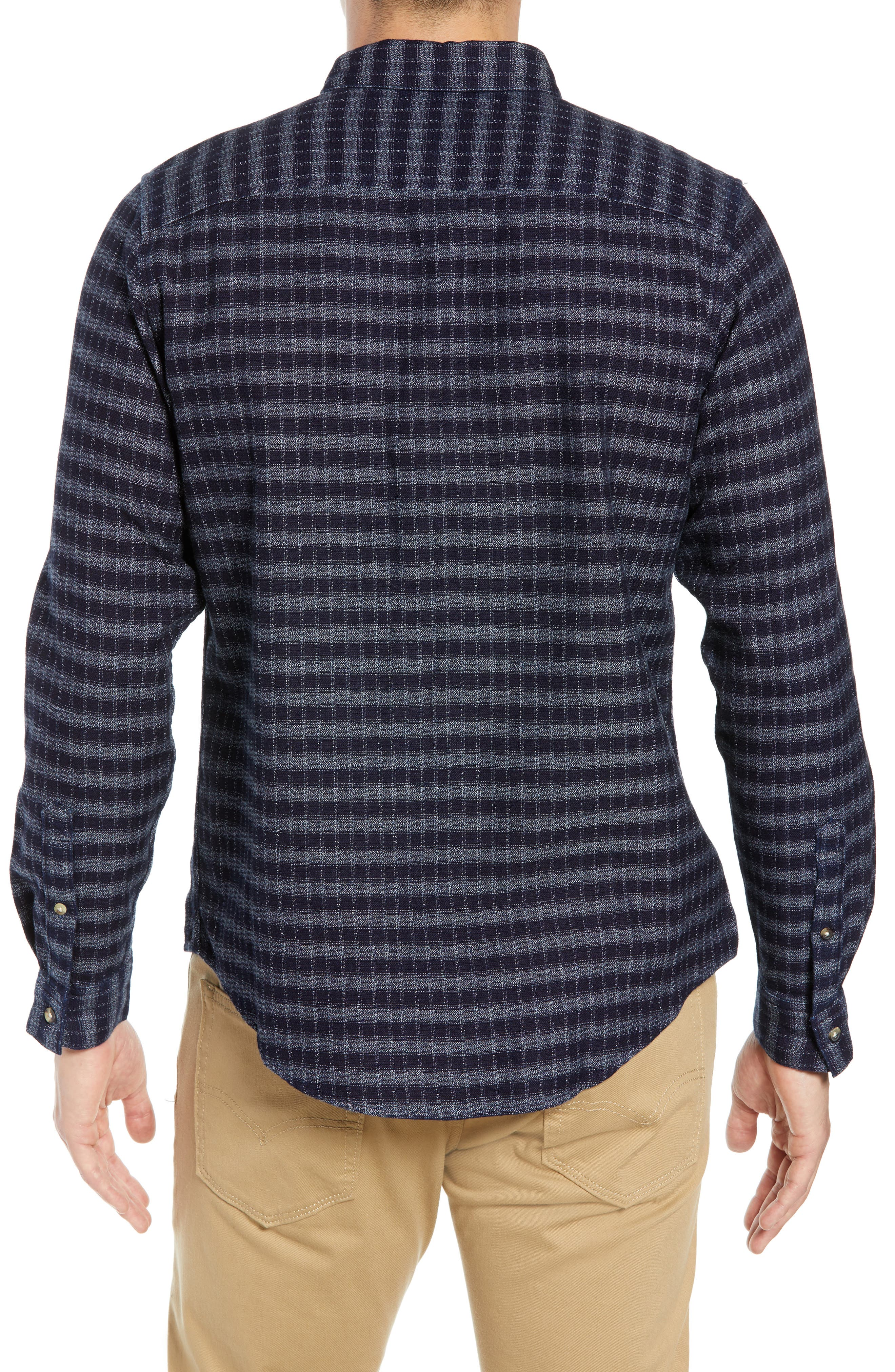 Standard Check Sport Shirt,                             Alternate thumbnail 3, color,                             INDIGO CHECK