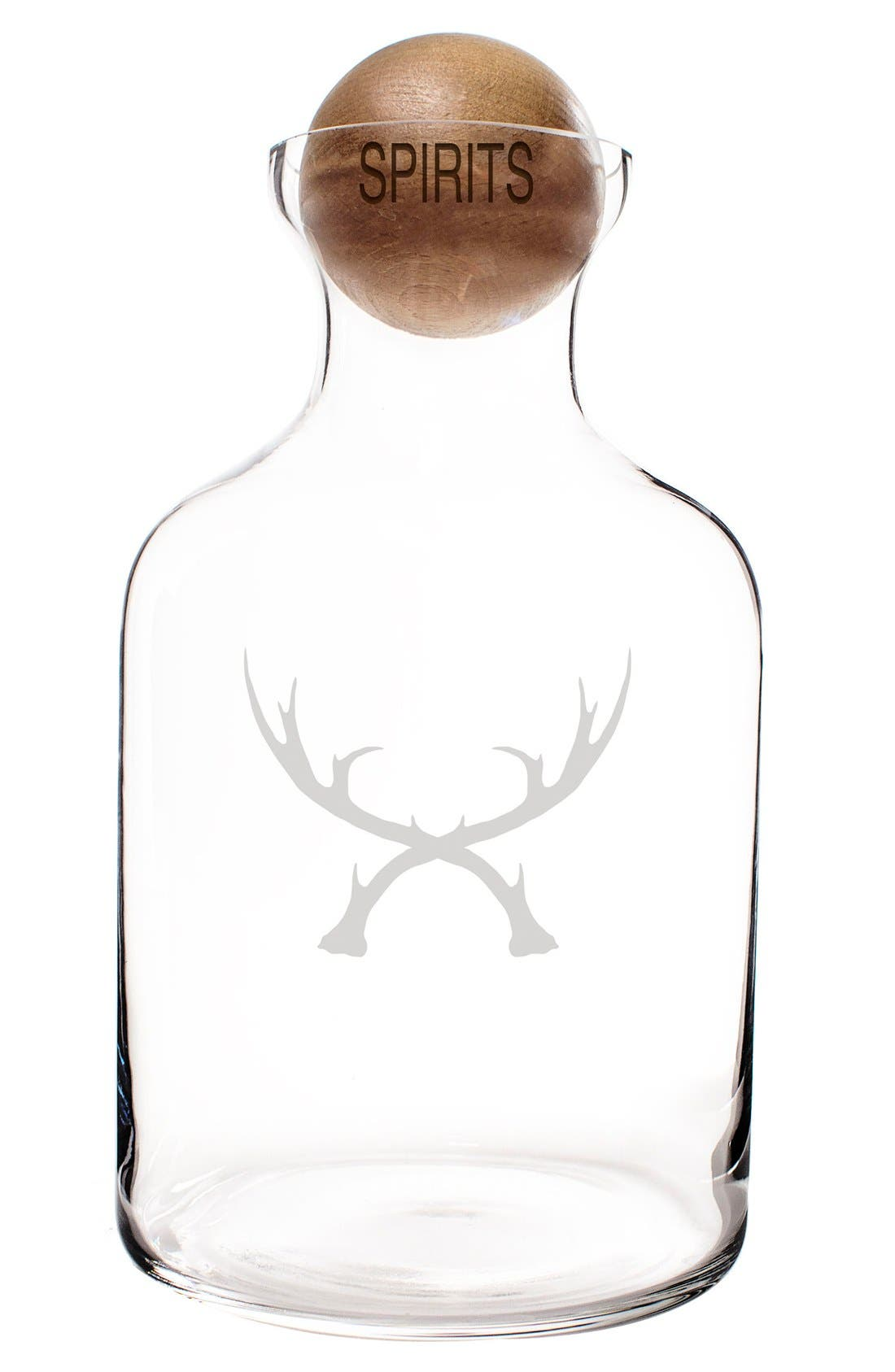 CATHY'S CONCEPTS,                             'Antlers' Glass Decanter & Wood Stopper,                             Alternate thumbnail 2, color,                             BROWN