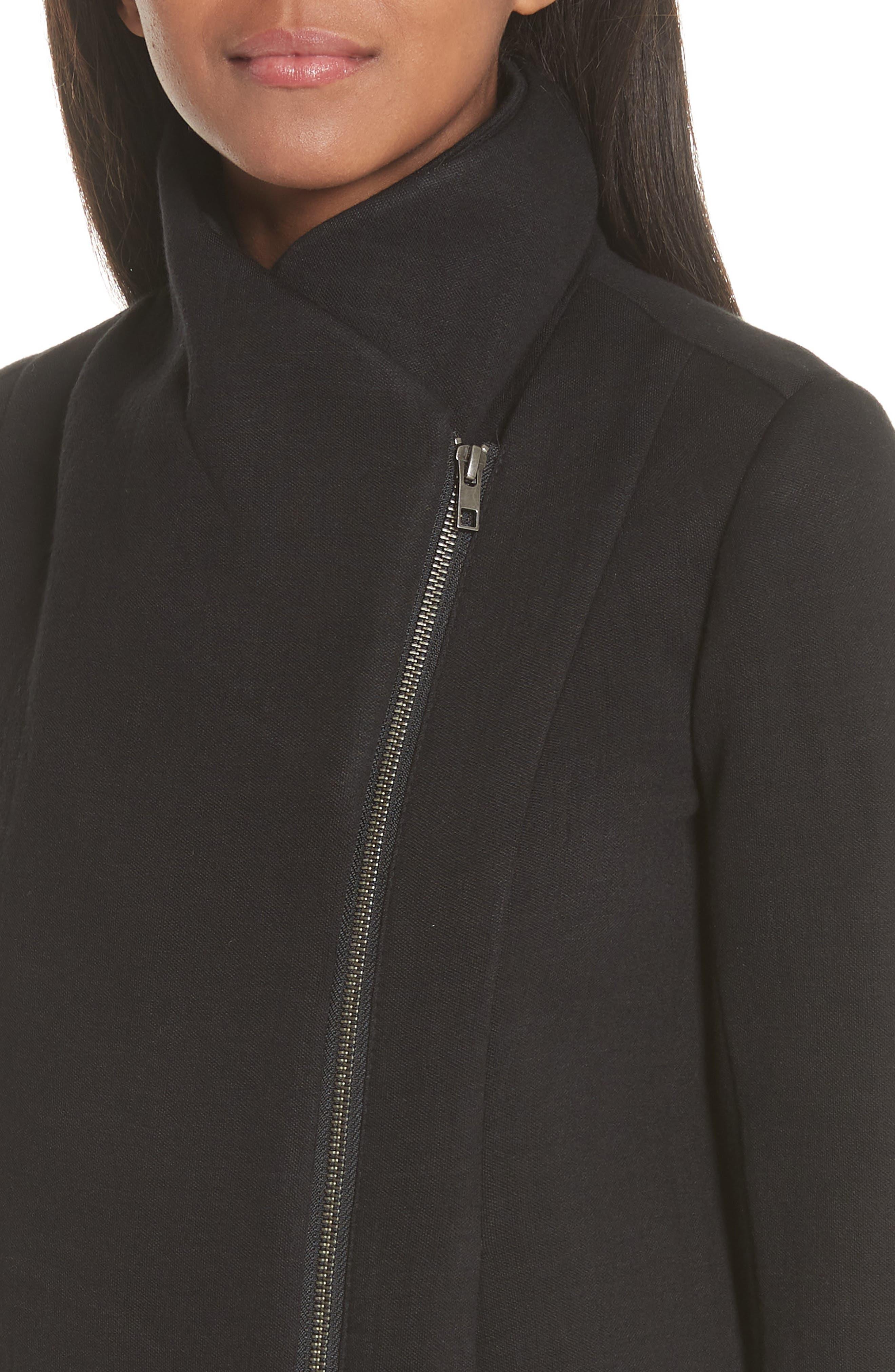 Knit Moto Jacket,                             Alternate thumbnail 4, color,                             001