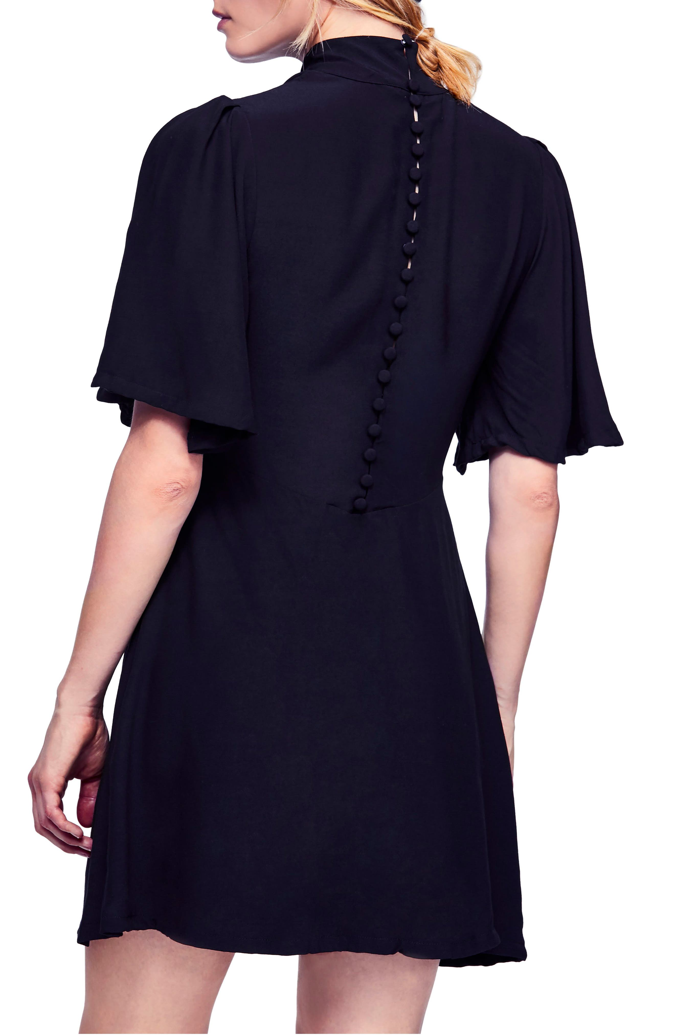 Be My Baby Ruched Front Elbow Sleeve Dress,                             Alternate thumbnail 2, color,                             BLACK