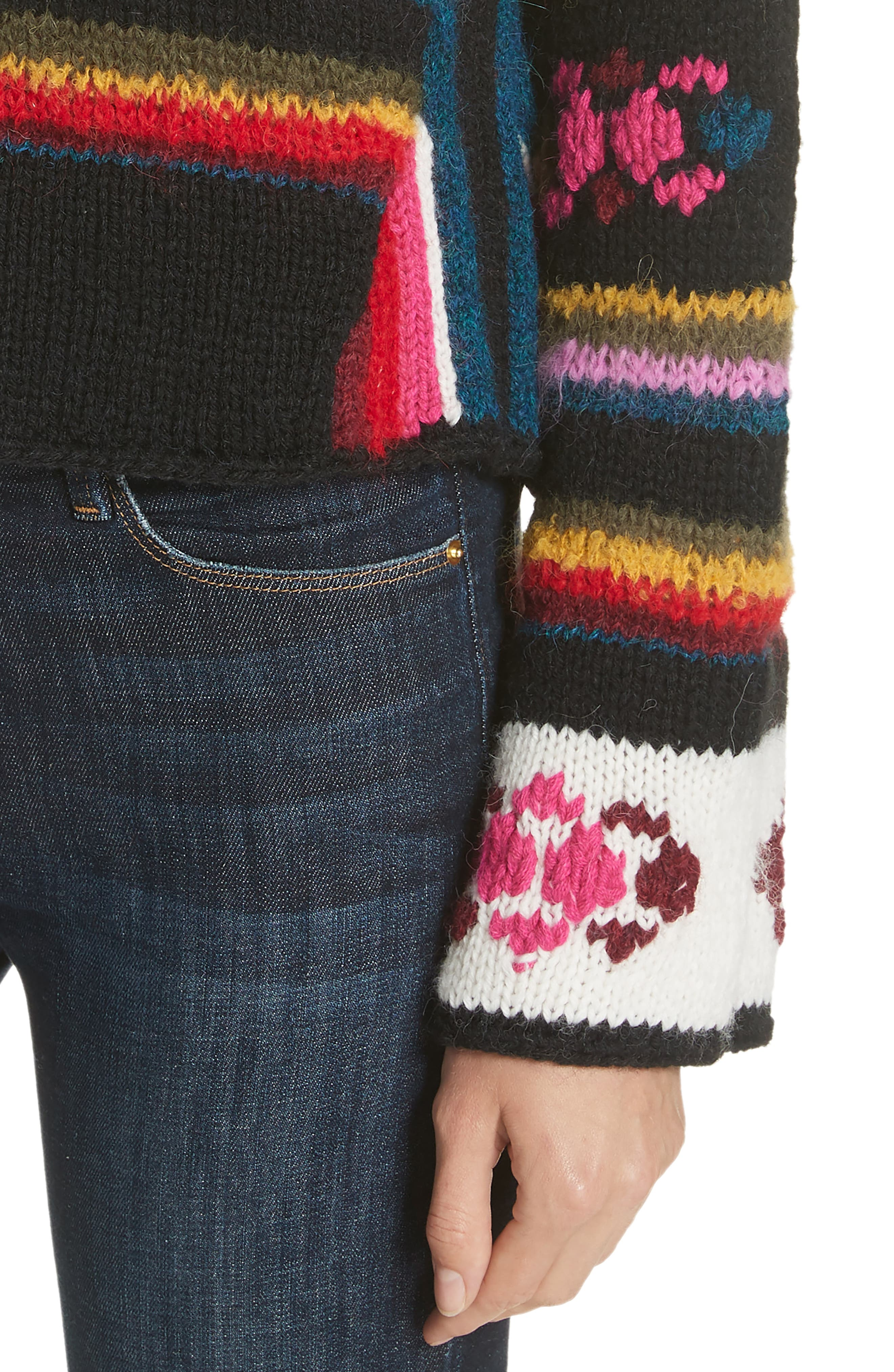 Hand Knit Stripe Alpaca Sweater,                             Alternate thumbnail 4, color,                             007