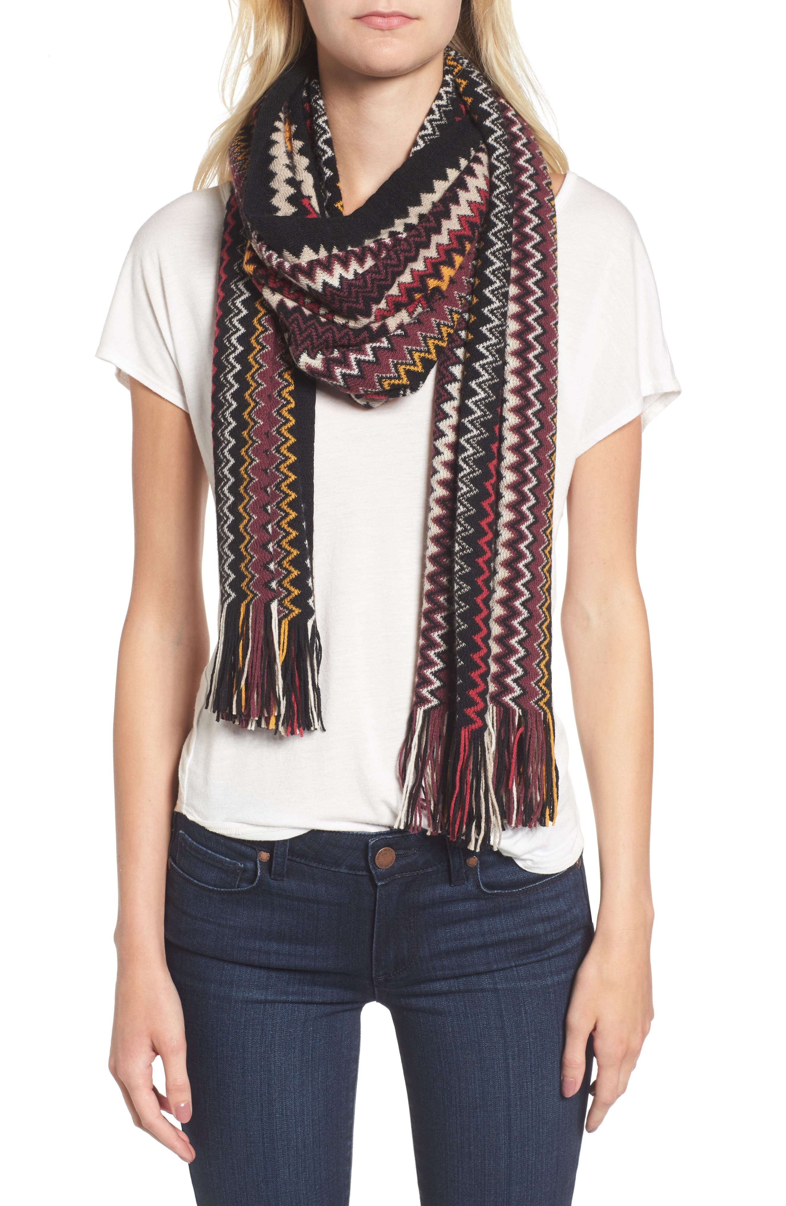 Zigzag Fringe Cashmere Scarf,                             Alternate thumbnail 4, color,