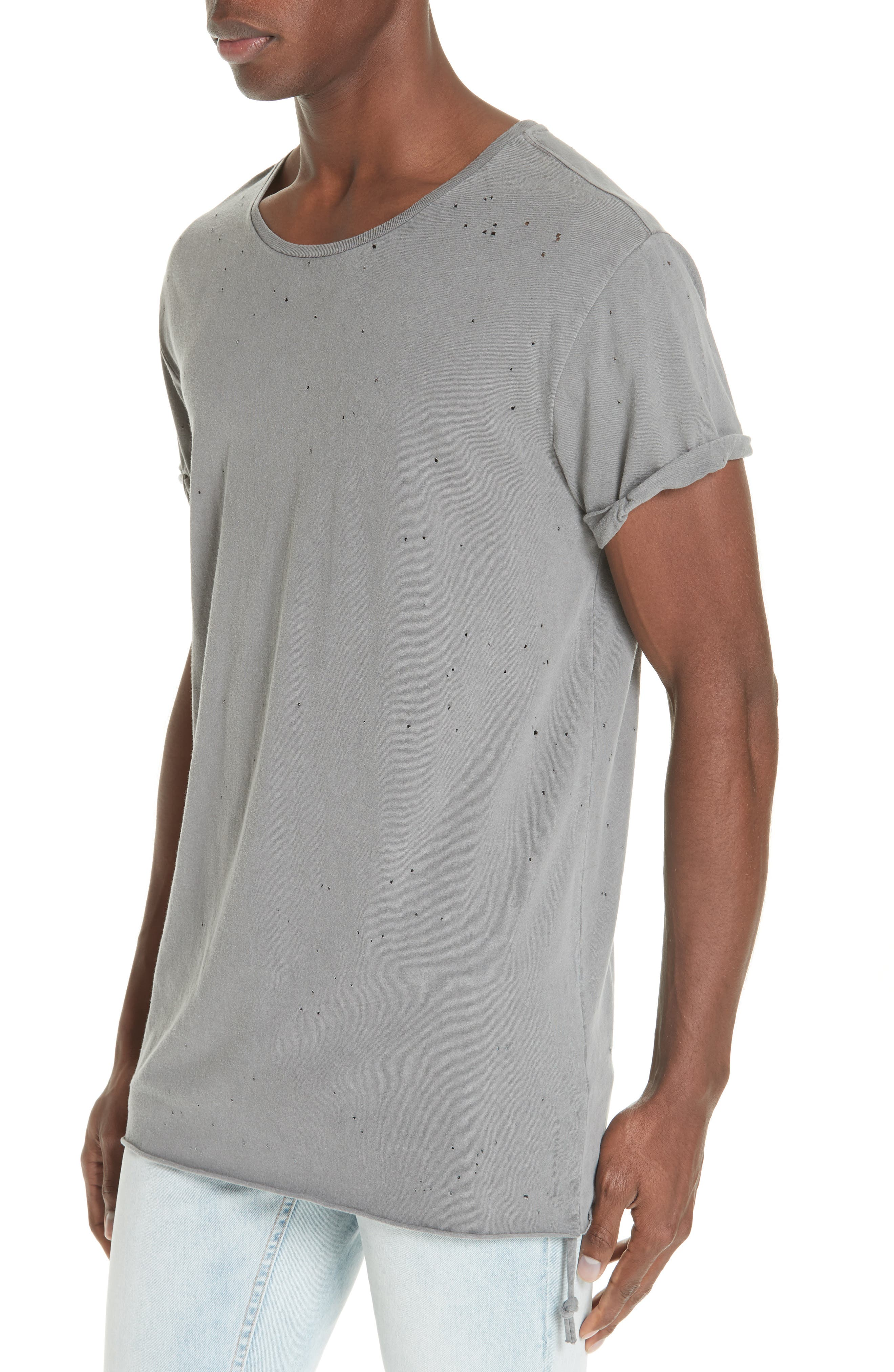 Kodeine Distressed T-Shirt,                             Alternate thumbnail 4, color,                             GREY