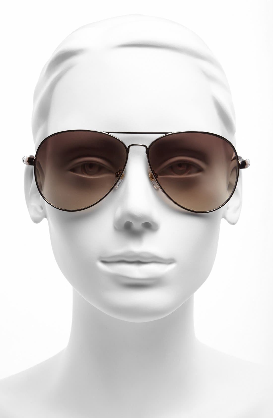62mm Metal Aviator Sunglasses,                             Alternate thumbnail 9, color,