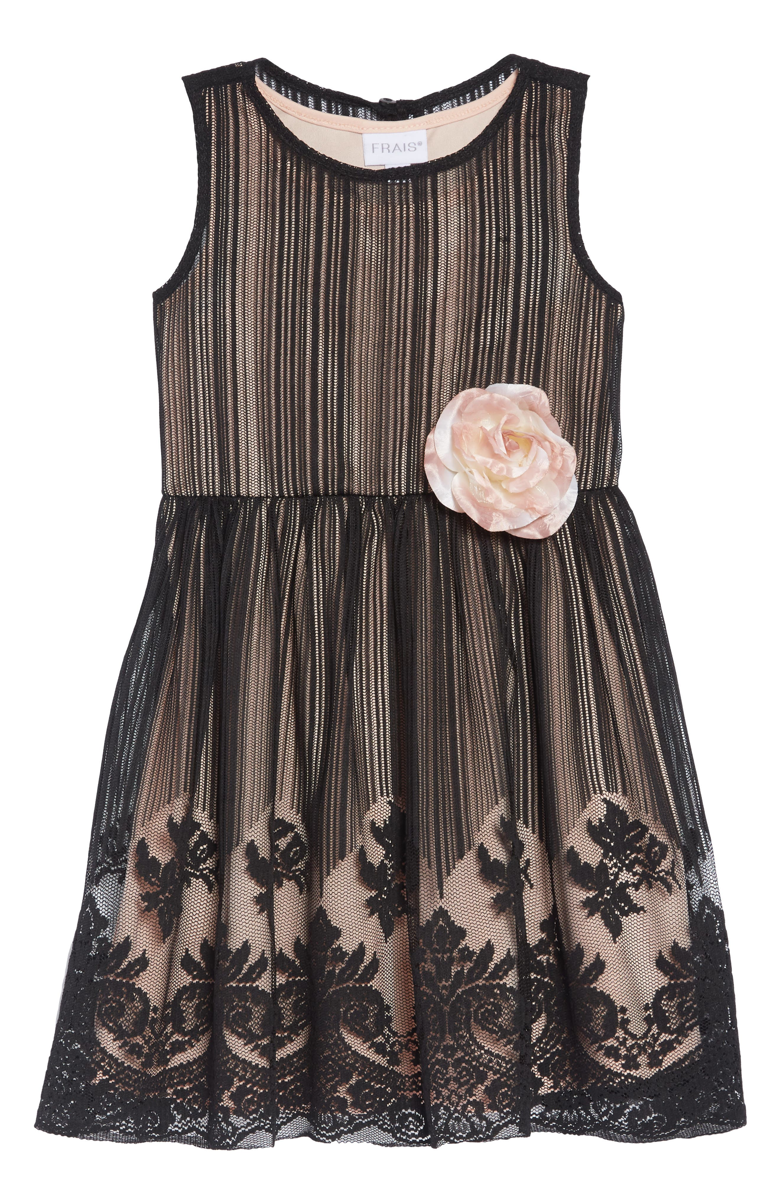 Mesh Overlay Dress,                             Main thumbnail 1, color,                             BLACK/ NUDE