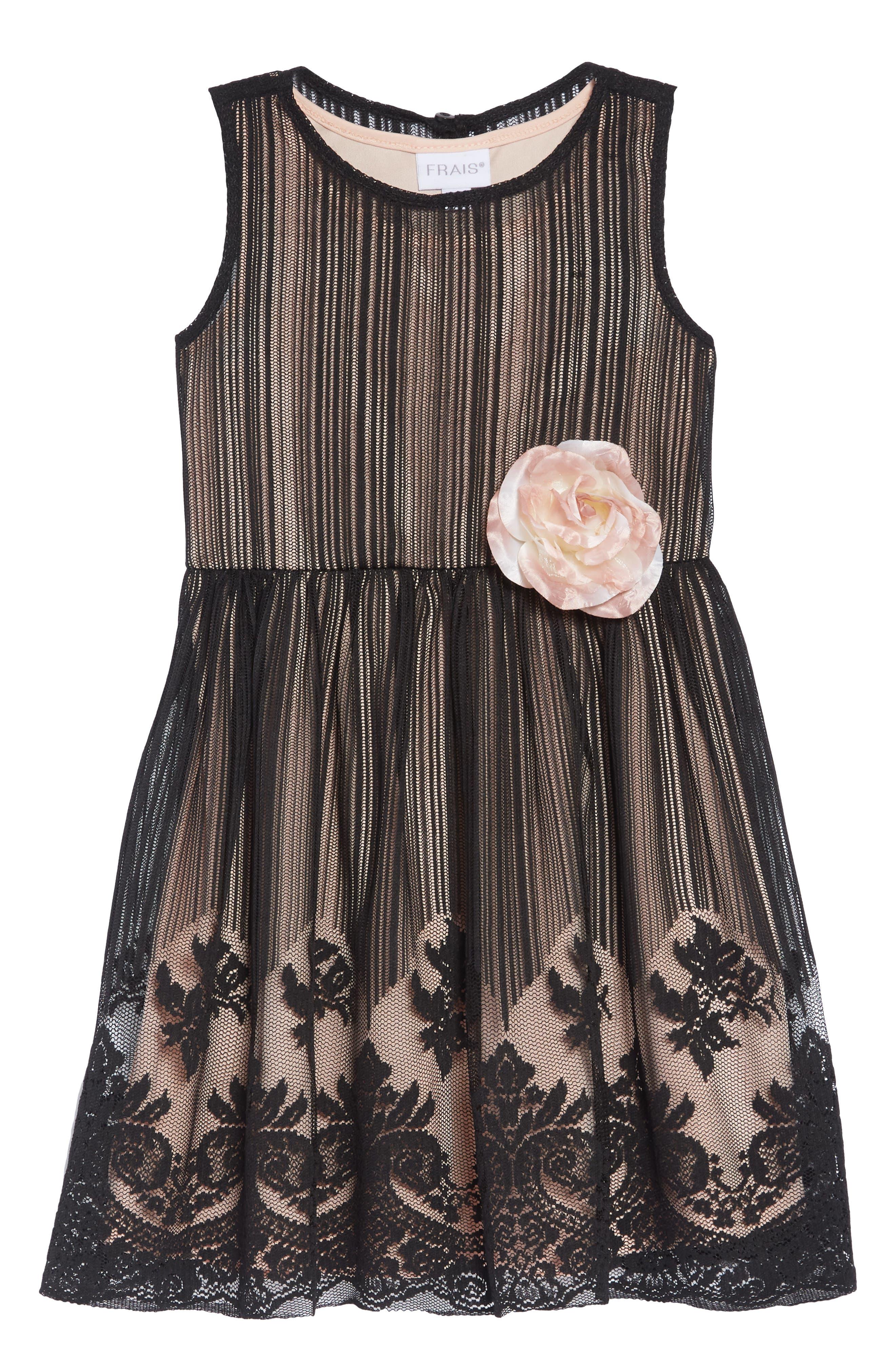 Mesh Overlay Dress,                         Main,                         color, BLACK/ NUDE