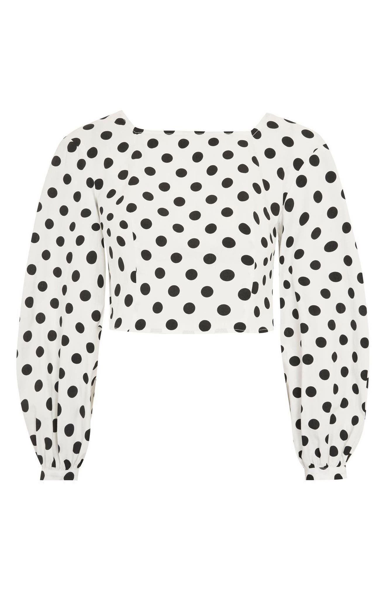 Polka Dot Balloon Sleeve Crop Top,                             Alternate thumbnail 4, color,                             100