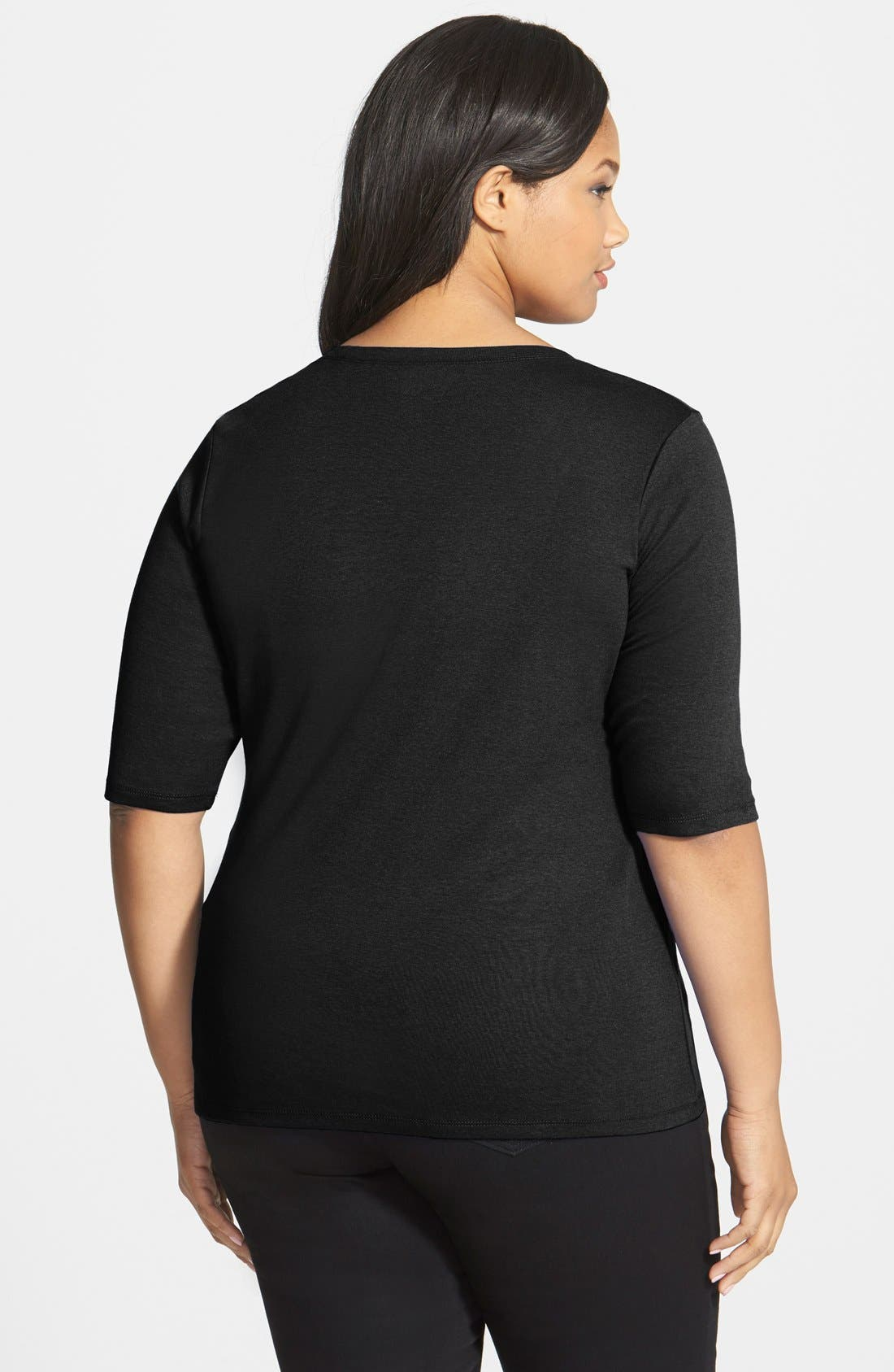 Elbow Sleeve Scoop Neck Tee,                             Alternate thumbnail 3, color,                             001