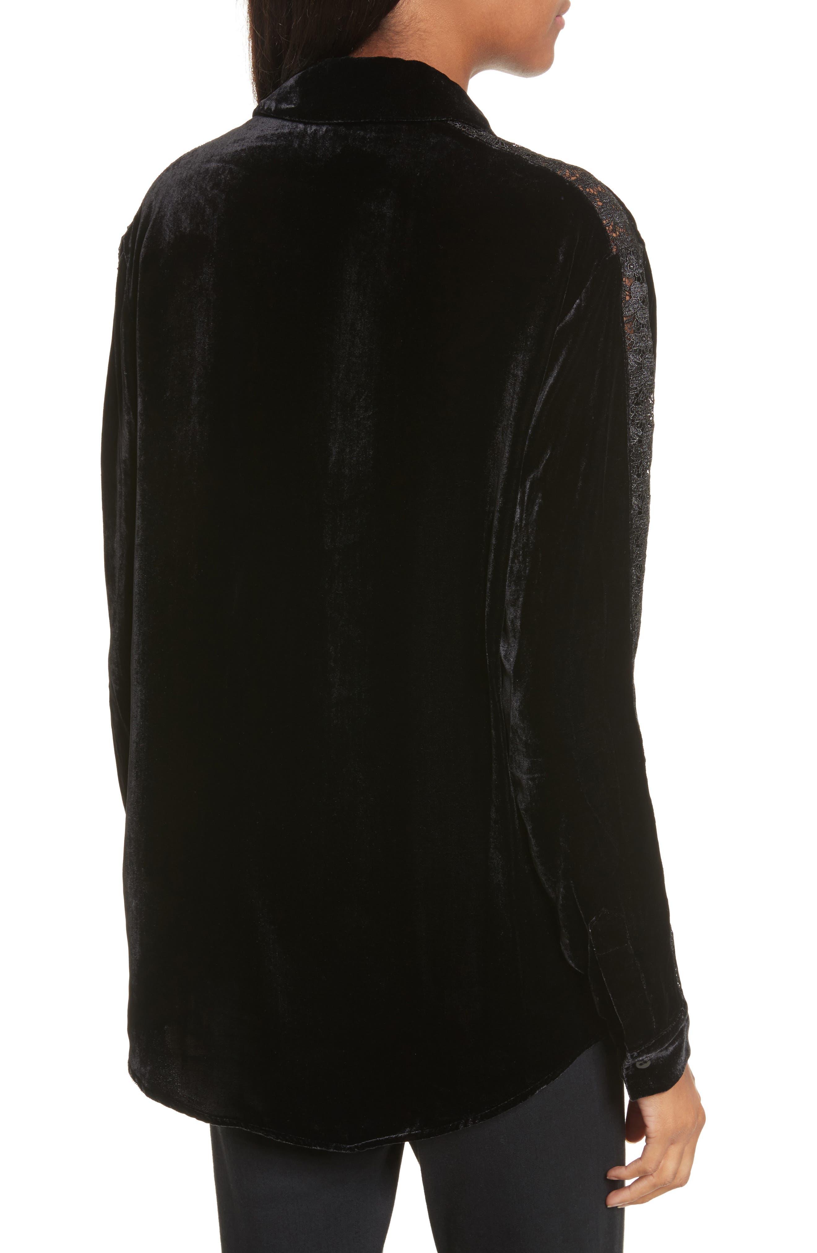 Lace Trim Velvet Shirt,                             Alternate thumbnail 2, color,                             001