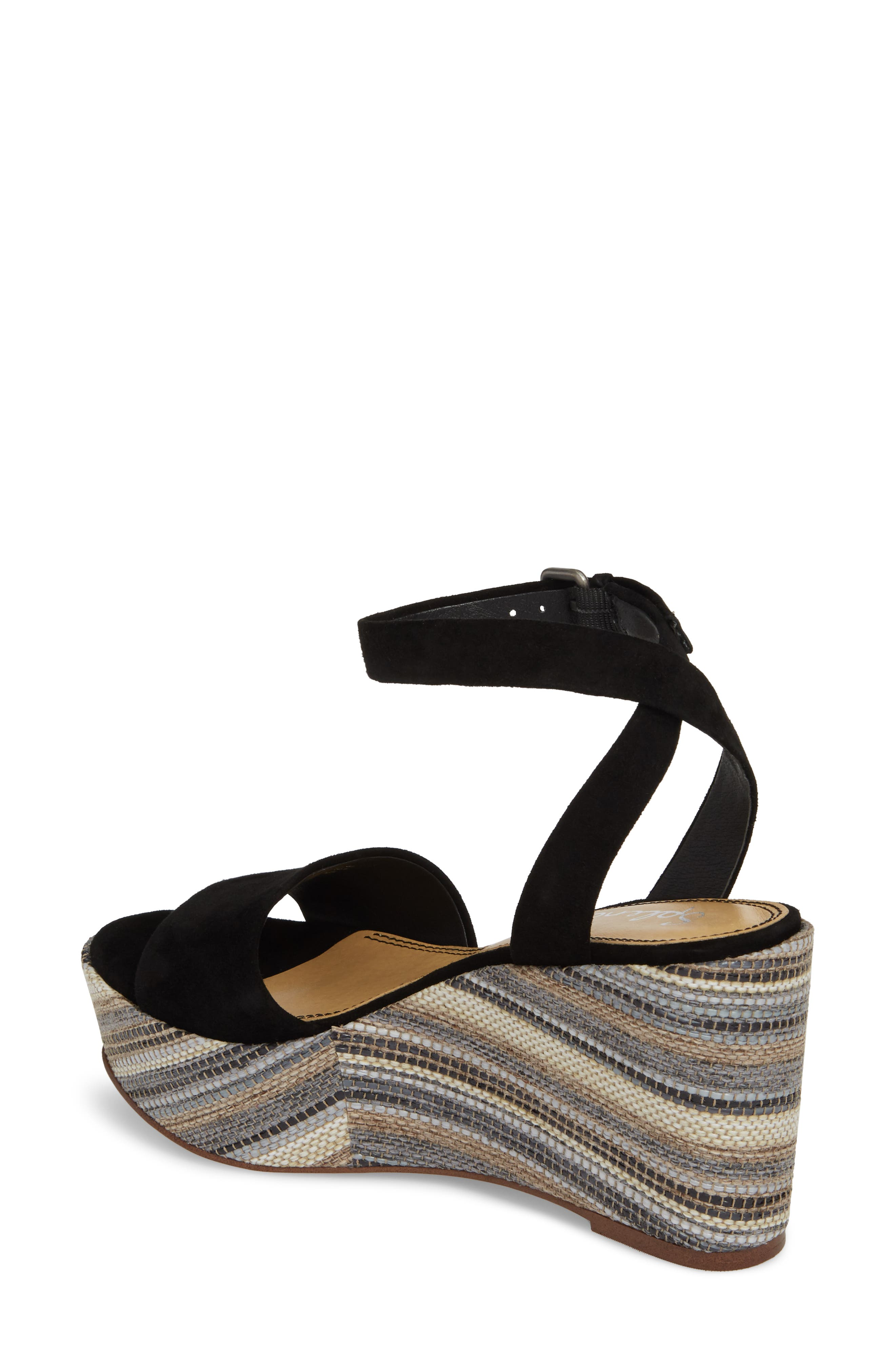 Felix Platform Wedge Sandal,                             Alternate thumbnail 2, color,                             BLACK MULTI SUEDE