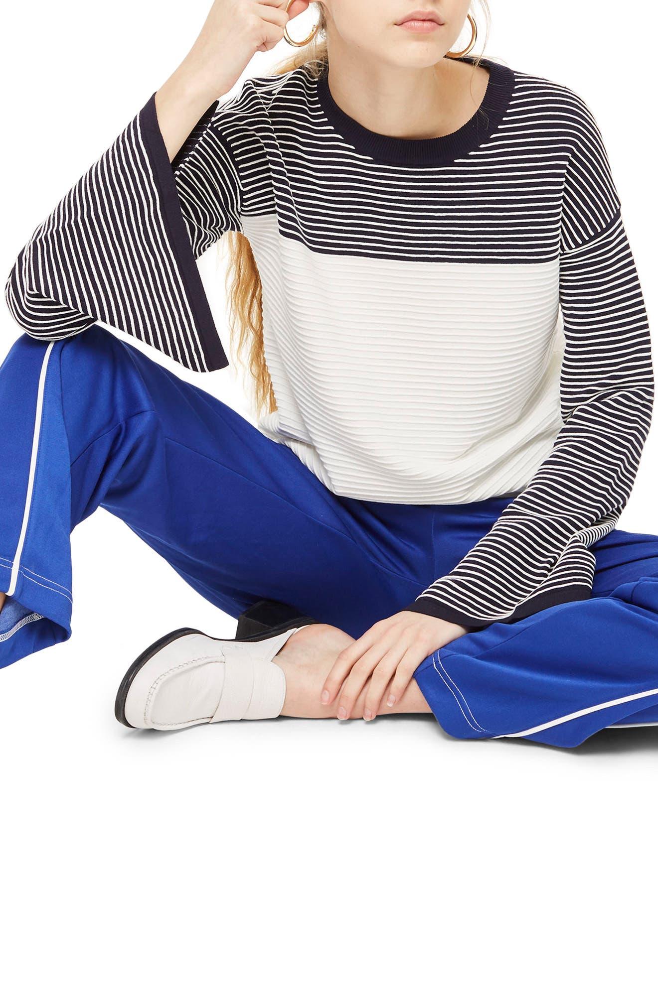 Ottoman Reverse Stripe Sweater,                             Main thumbnail 1, color,
