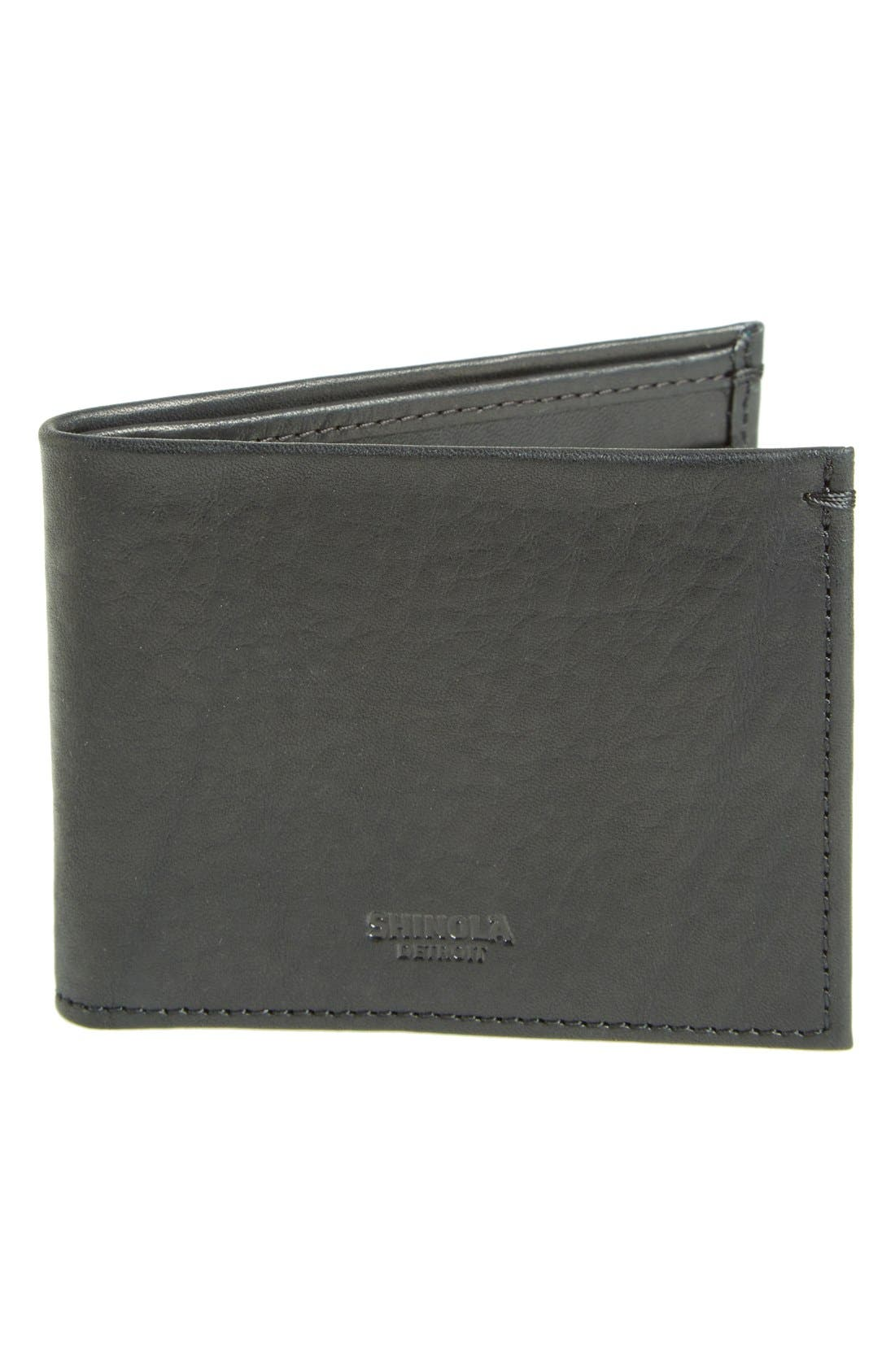 Slim Bifold Leather Wallet,                             Main thumbnail 1, color,                             BLACK