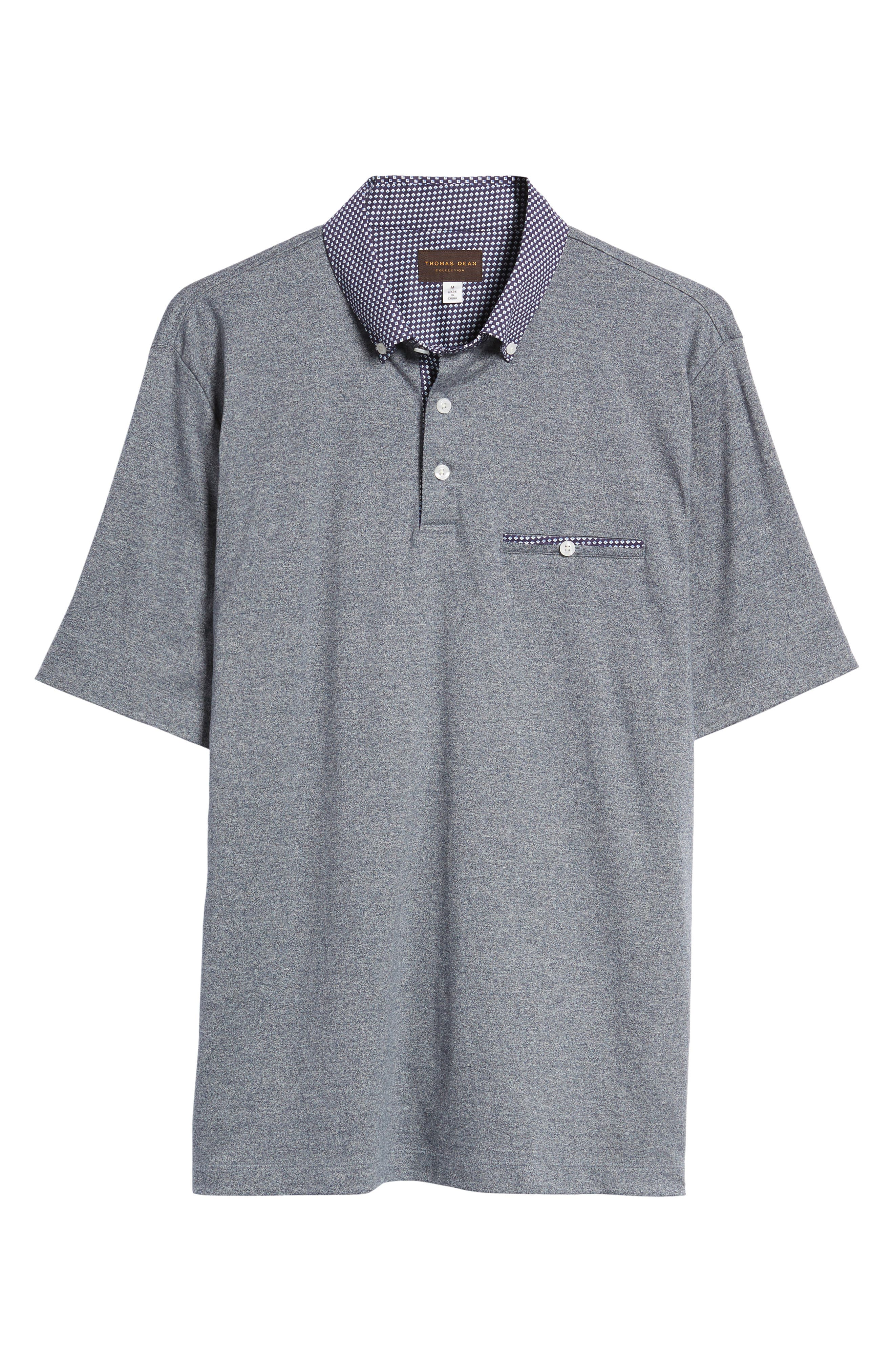 Heathered Button Down Polo,                             Alternate thumbnail 6, color,                             400