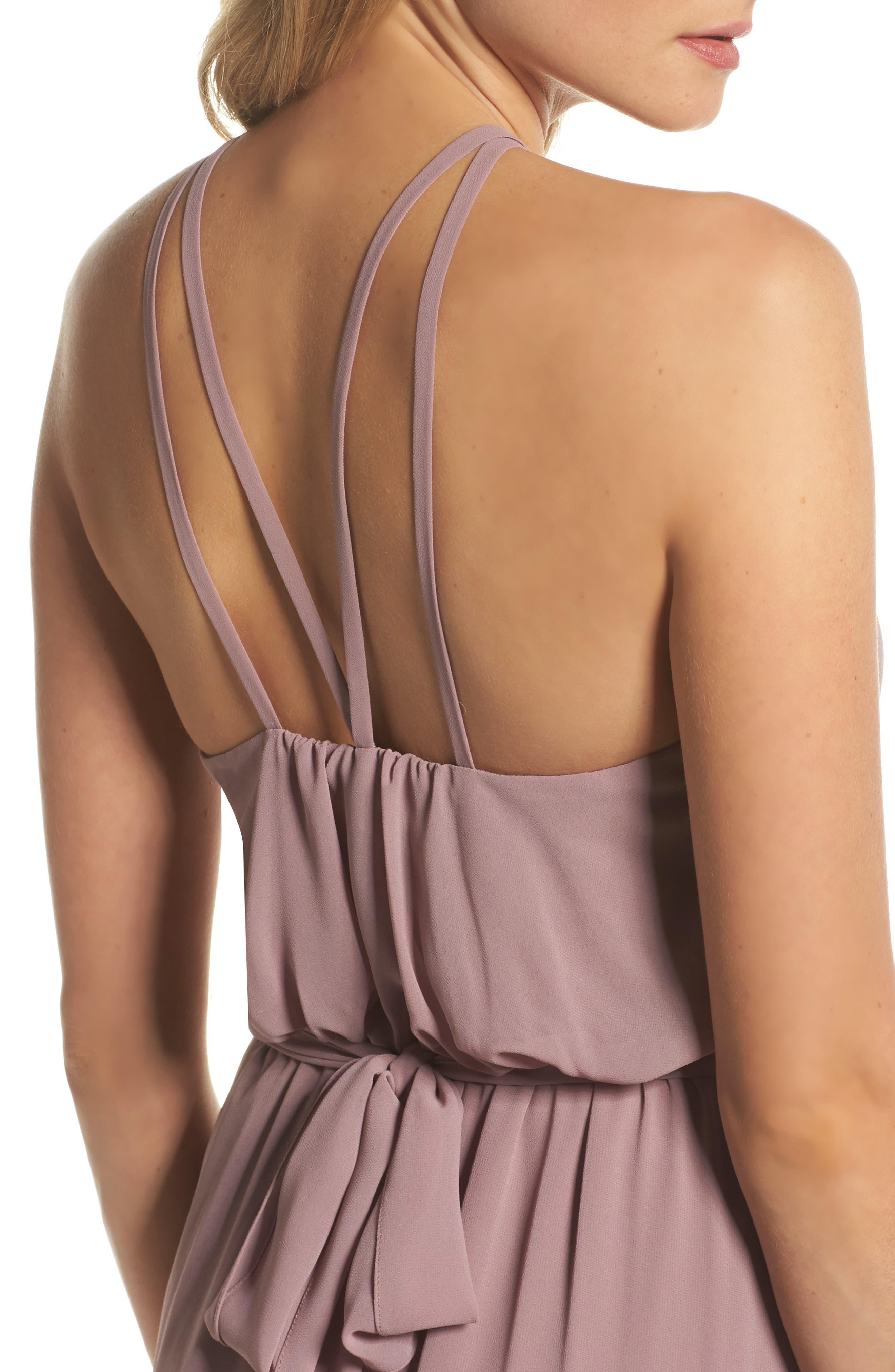 Halter Neck Chiffon Blouson Gown,                             Alternate thumbnail 7, color,