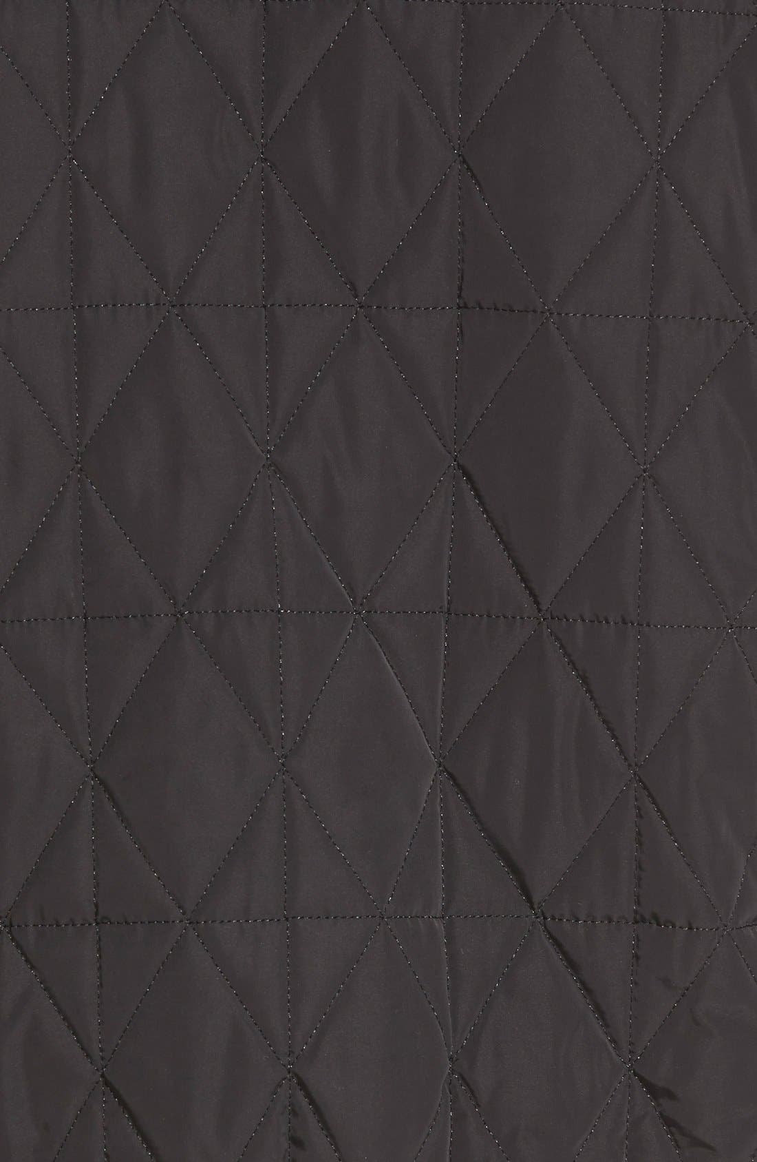 Diamond Quilted Zip Front Jacket,                             Alternate thumbnail 5, color,                             001