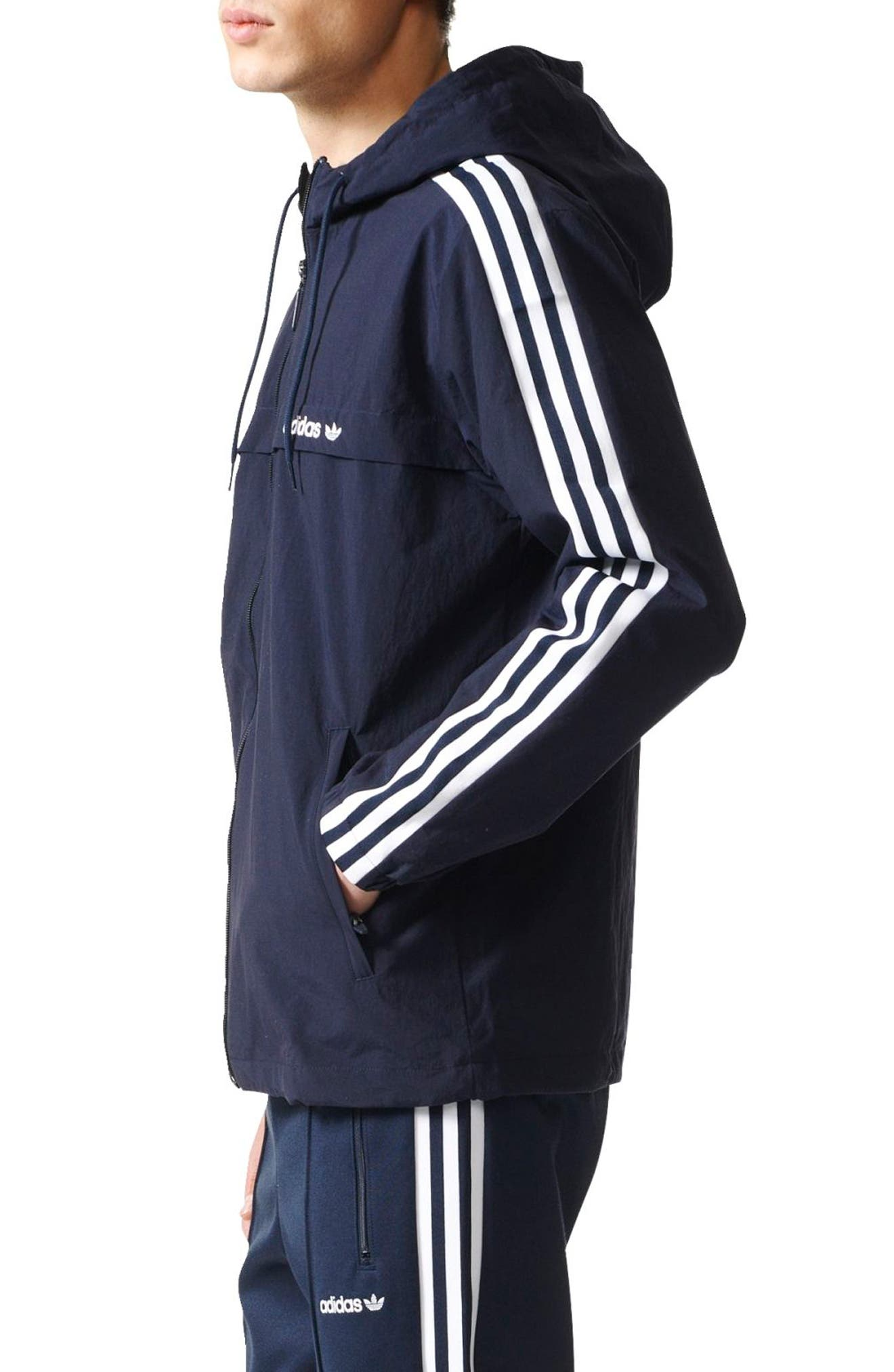 3-Stripe Hooded Windbreaker,                             Alternate thumbnail 8, color,