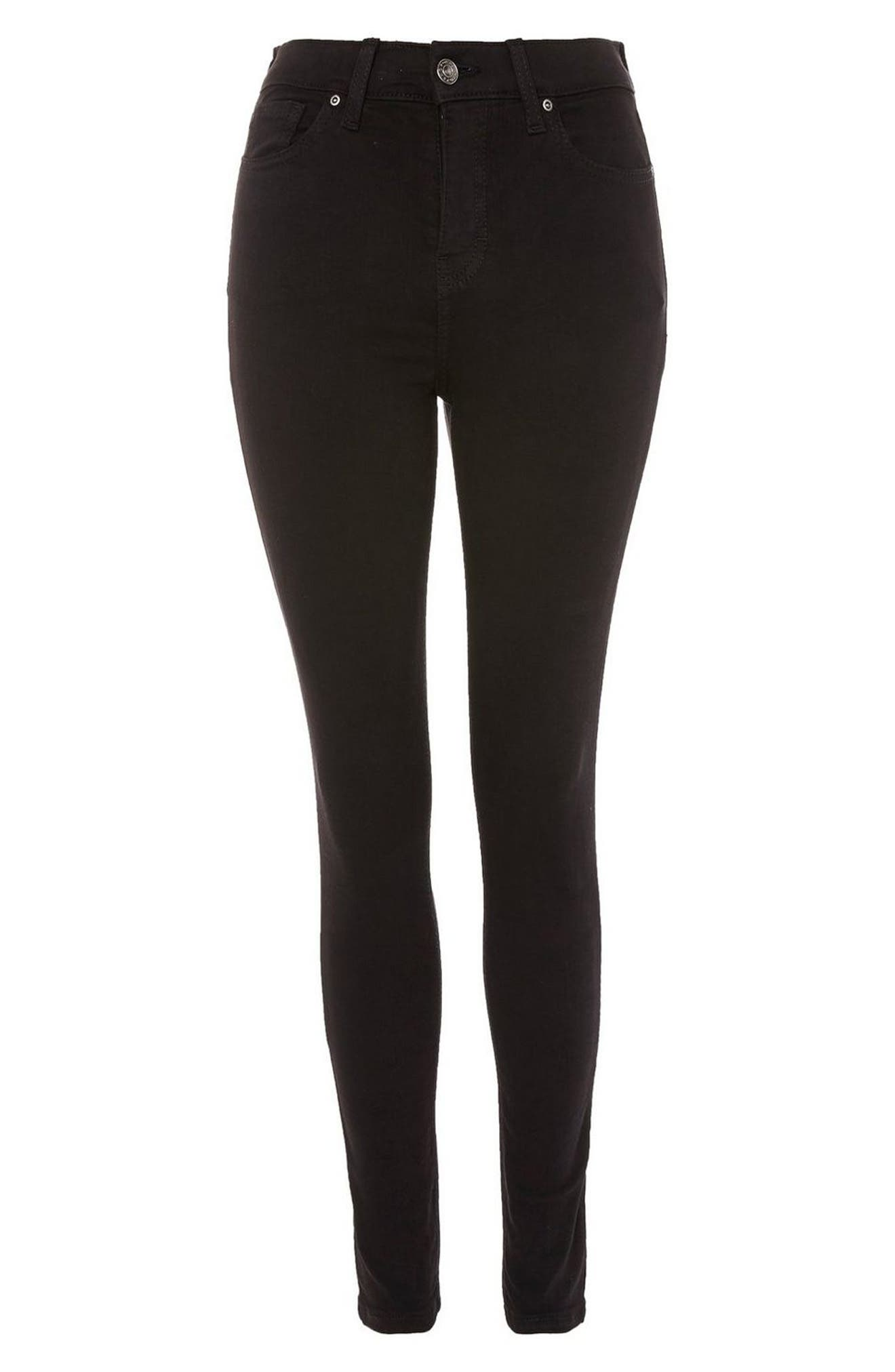 Jamie High Waist Skinny Jeans,                             Alternate thumbnail 3, color,                             BLACK