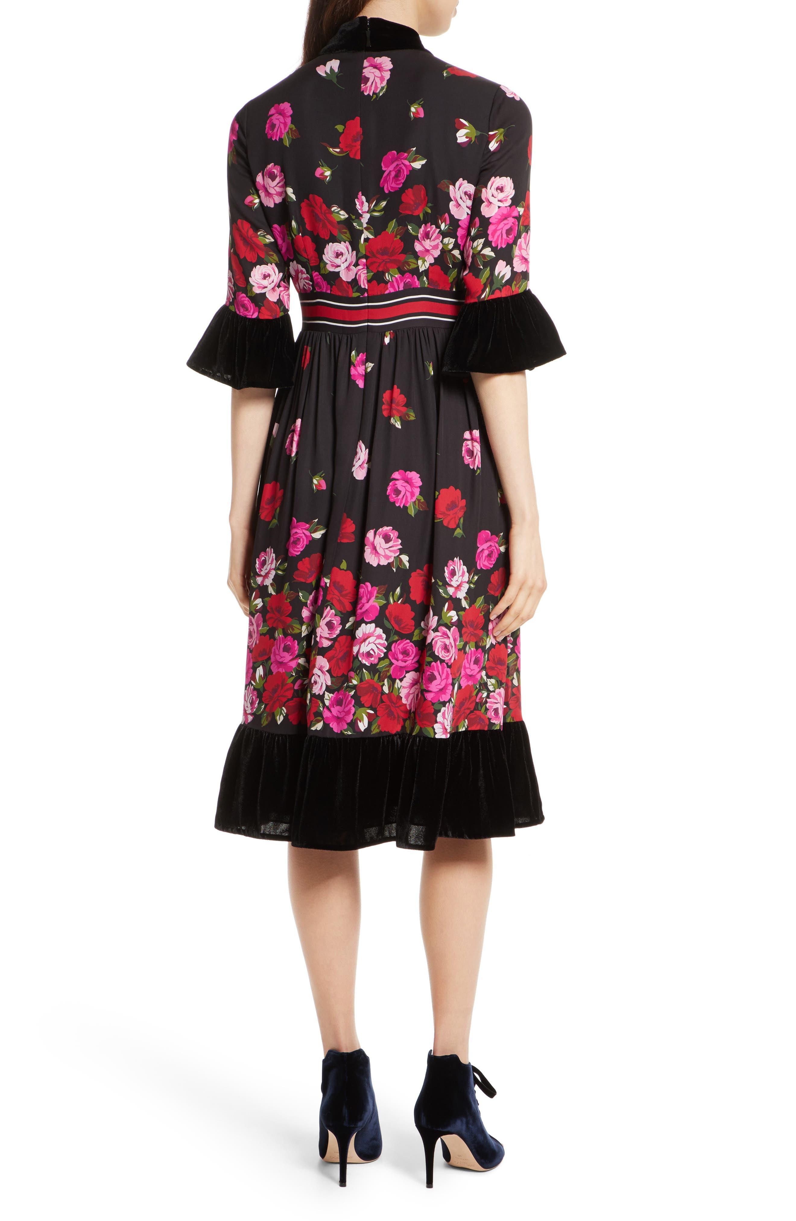 scattered rose velvet trim silk dress,                             Alternate thumbnail 2, color,                             006