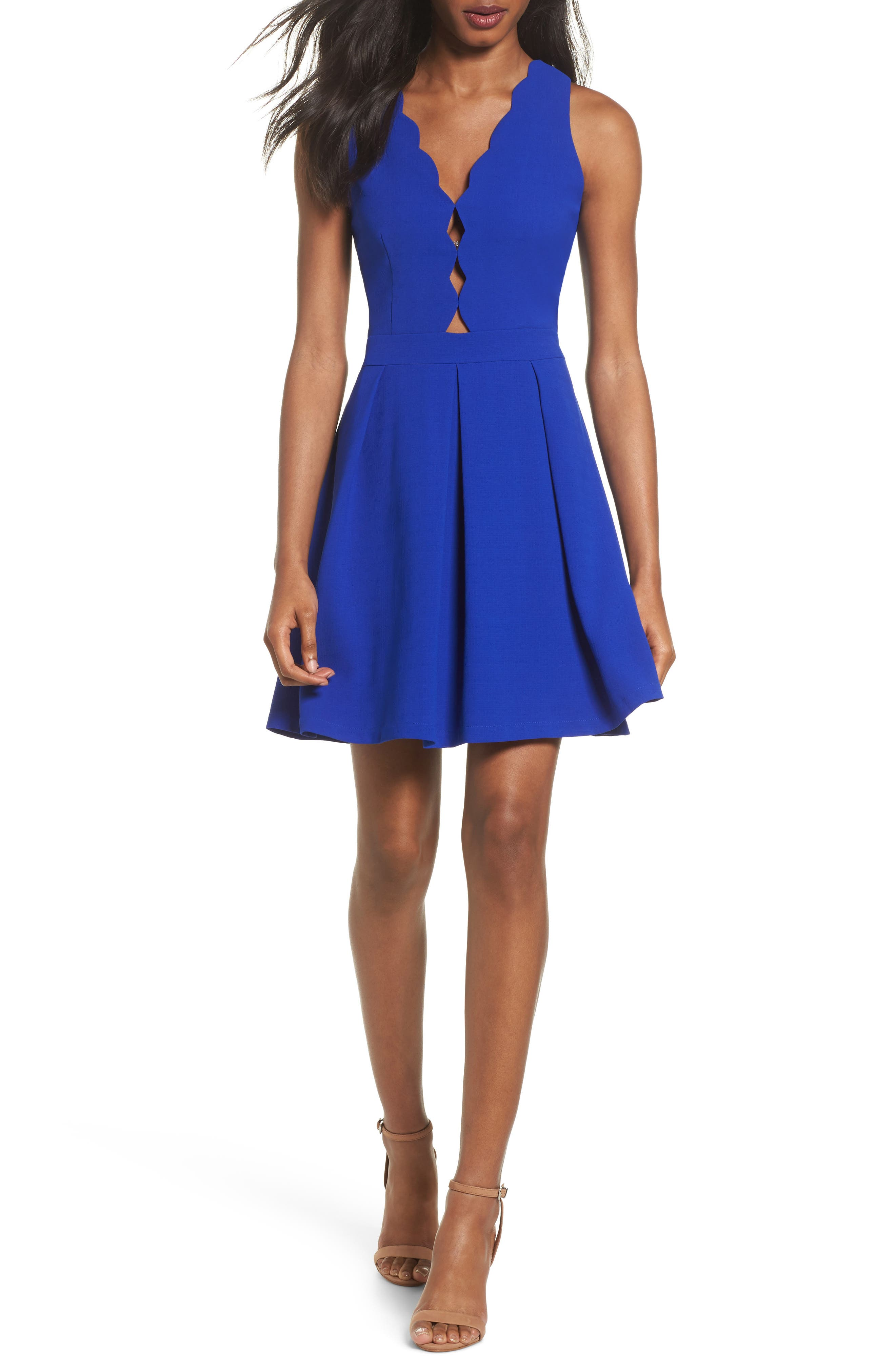Scalloped Fit & Flare Dress,                             Main thumbnail 1, color,                             BLUE