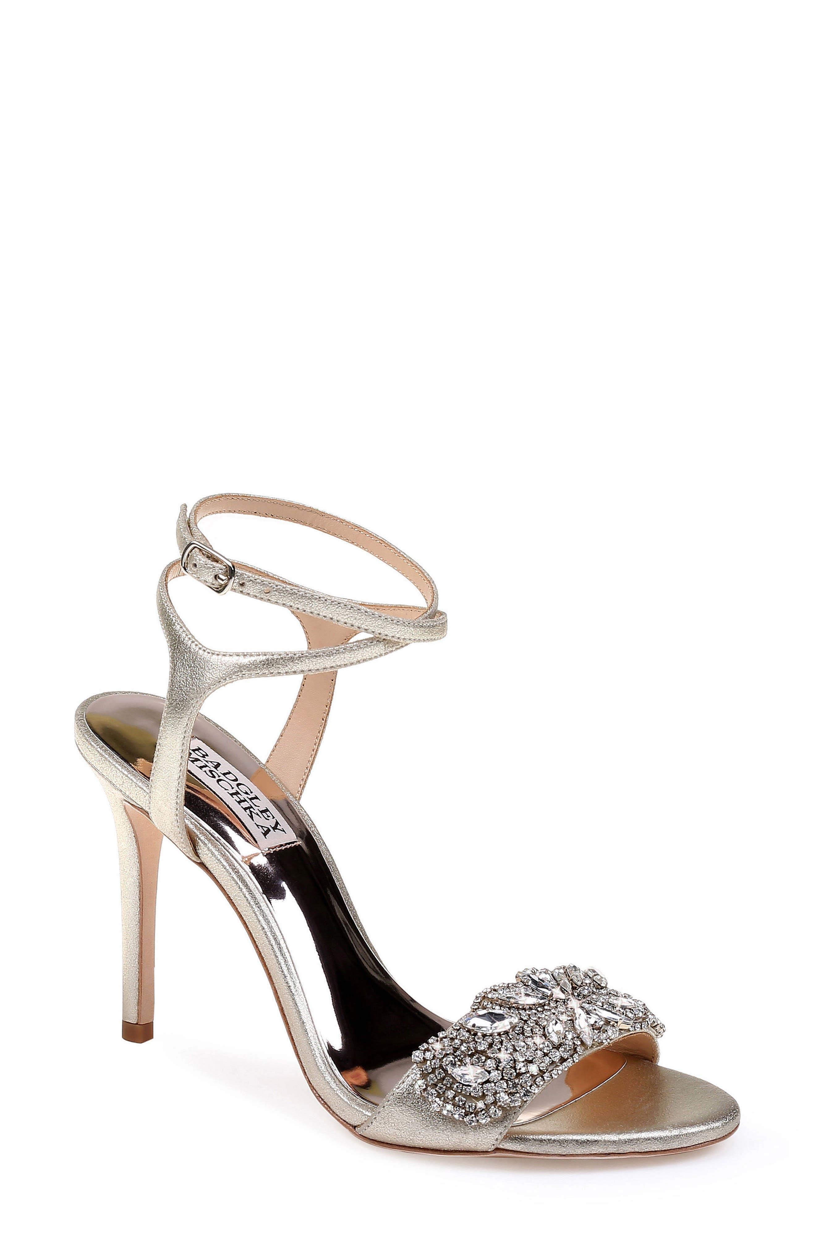 Badgley Mischka Hailey Embellished Ankle Strap Sandal- Metallic