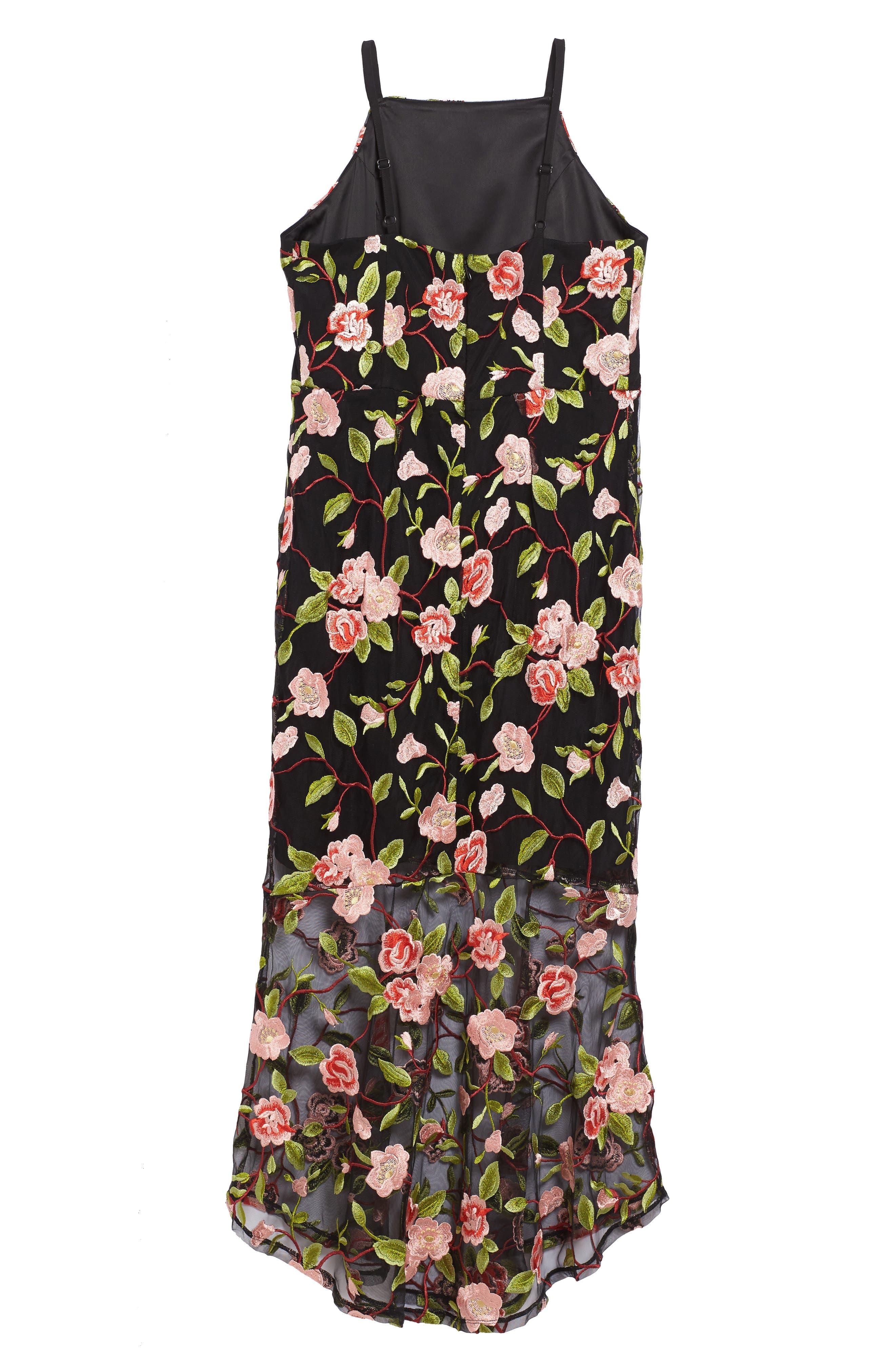 Floral Embroidered Slip Dress,                             Alternate thumbnail 2, color,                             001