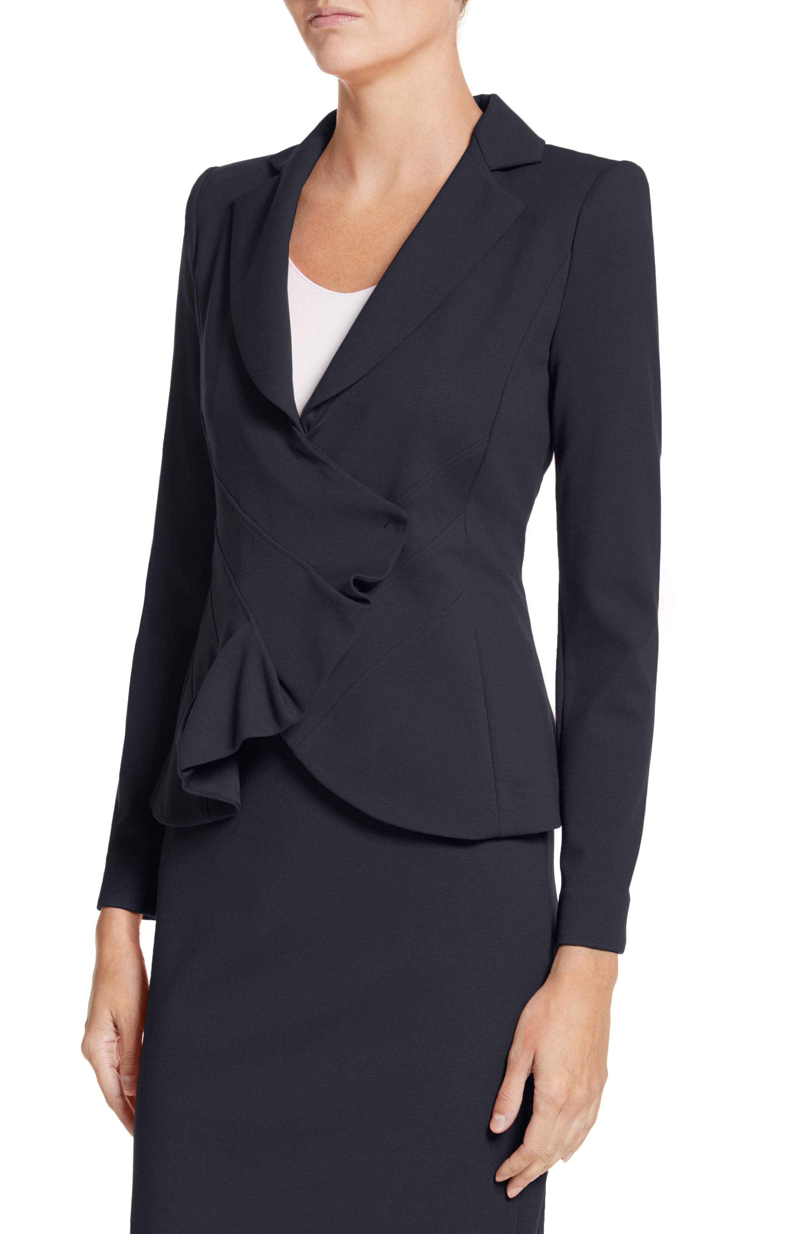 Asymmetrical Pleated Front Jacket,                             Alternate thumbnail 4, color,                             414