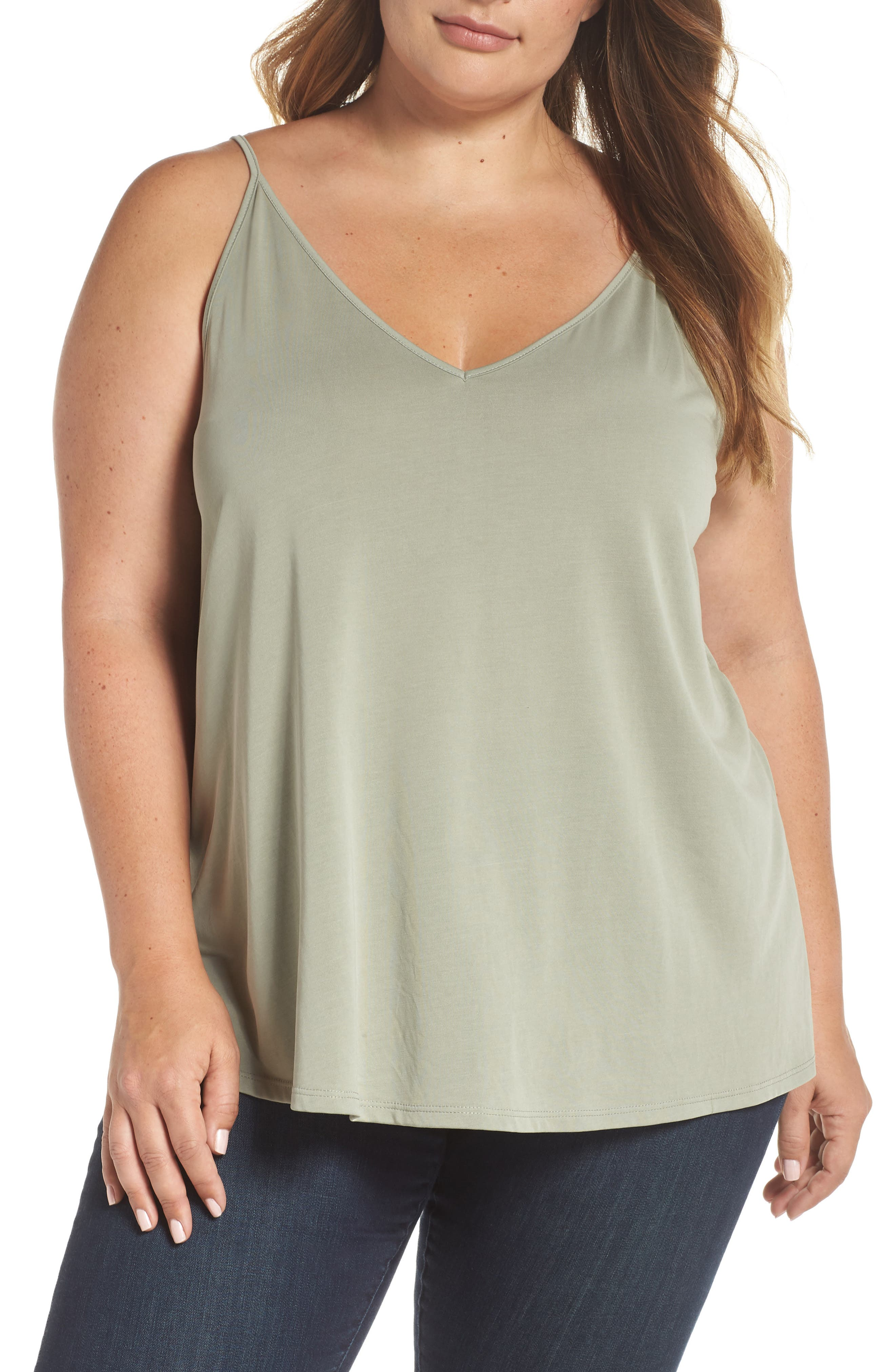 Double V Swing Camisole,                             Alternate thumbnail 2, color,                             OLIVE BURNT