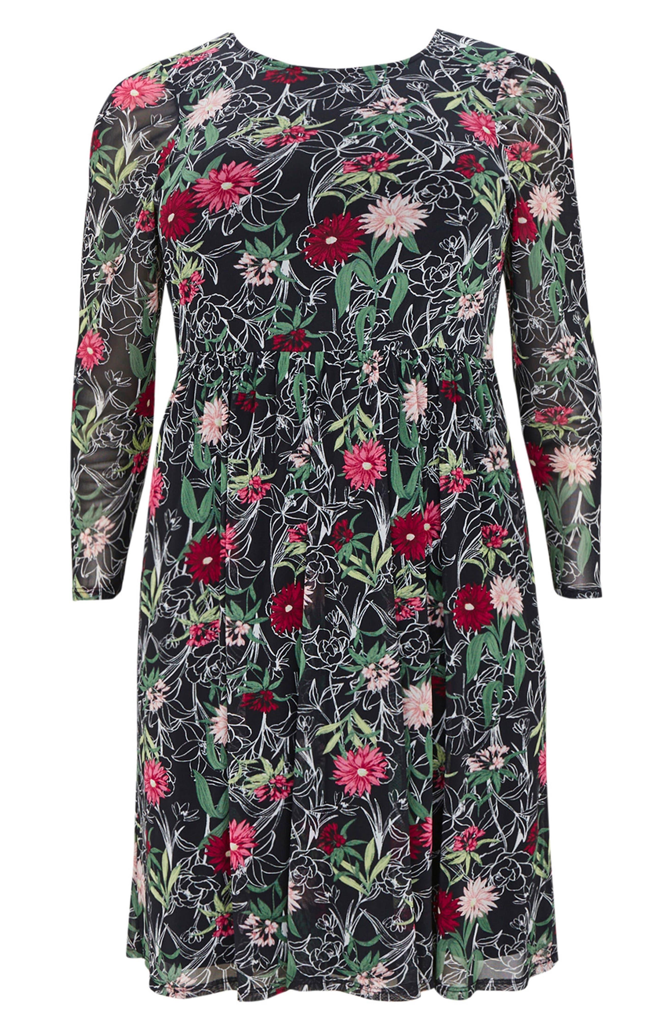 Floral Print Mesh Fit & Flare Dress,                             Alternate thumbnail 4, color,                             005