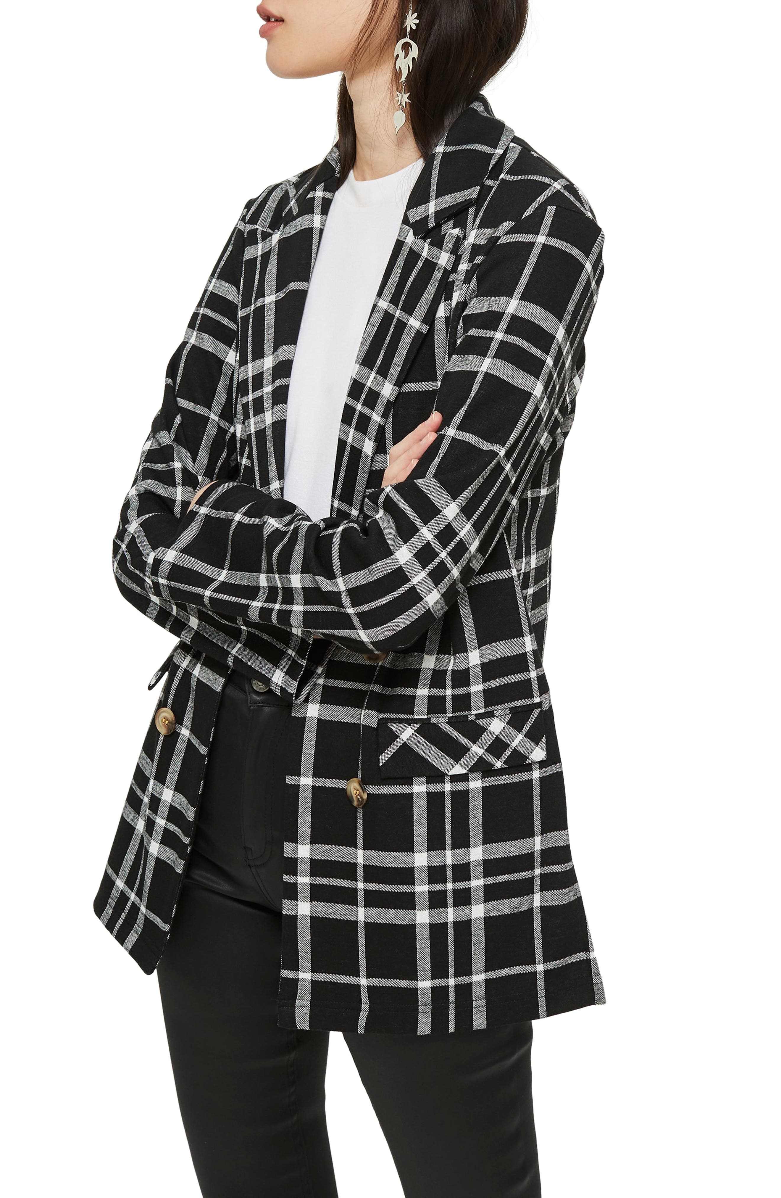 Double Breasted Check Jacket,                             Alternate thumbnail 3, color,                             BLACK MULTI