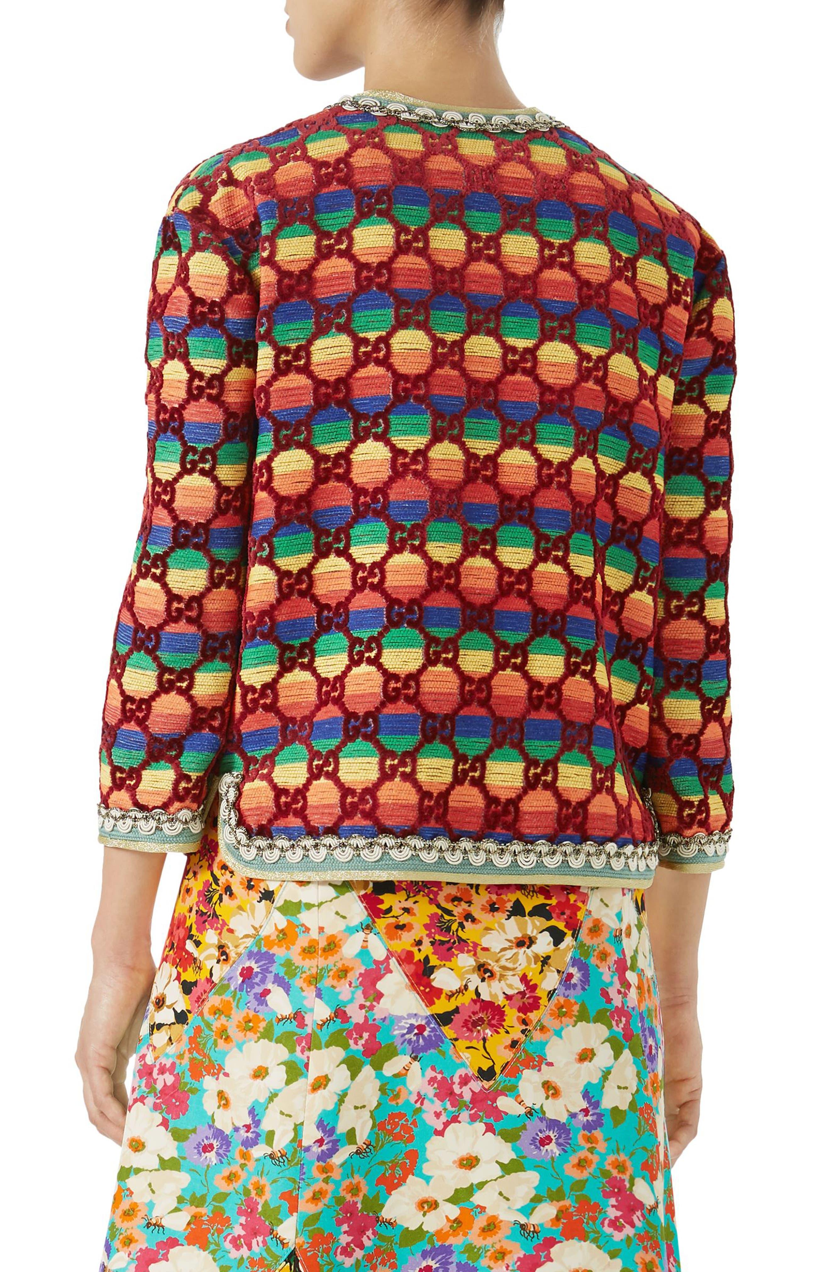 GG Rainbow Stripe Velvet Jacket,                             Alternate thumbnail 2, color,                             621
